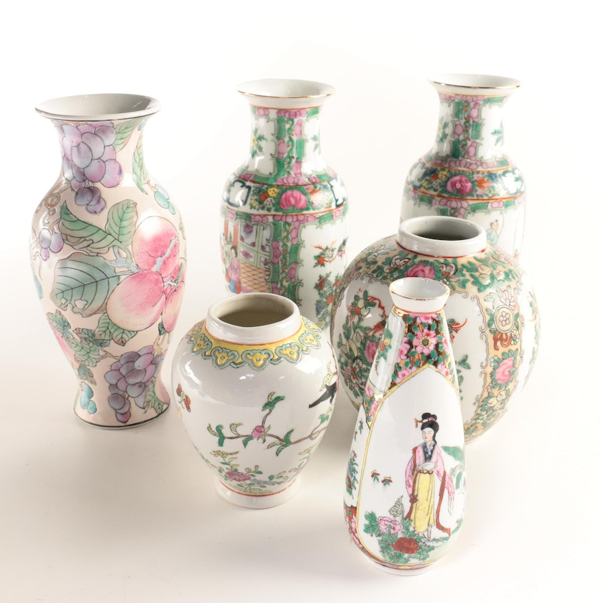Group Of Six Chinese Hand Painted Porcelain Floral Vases Ebth