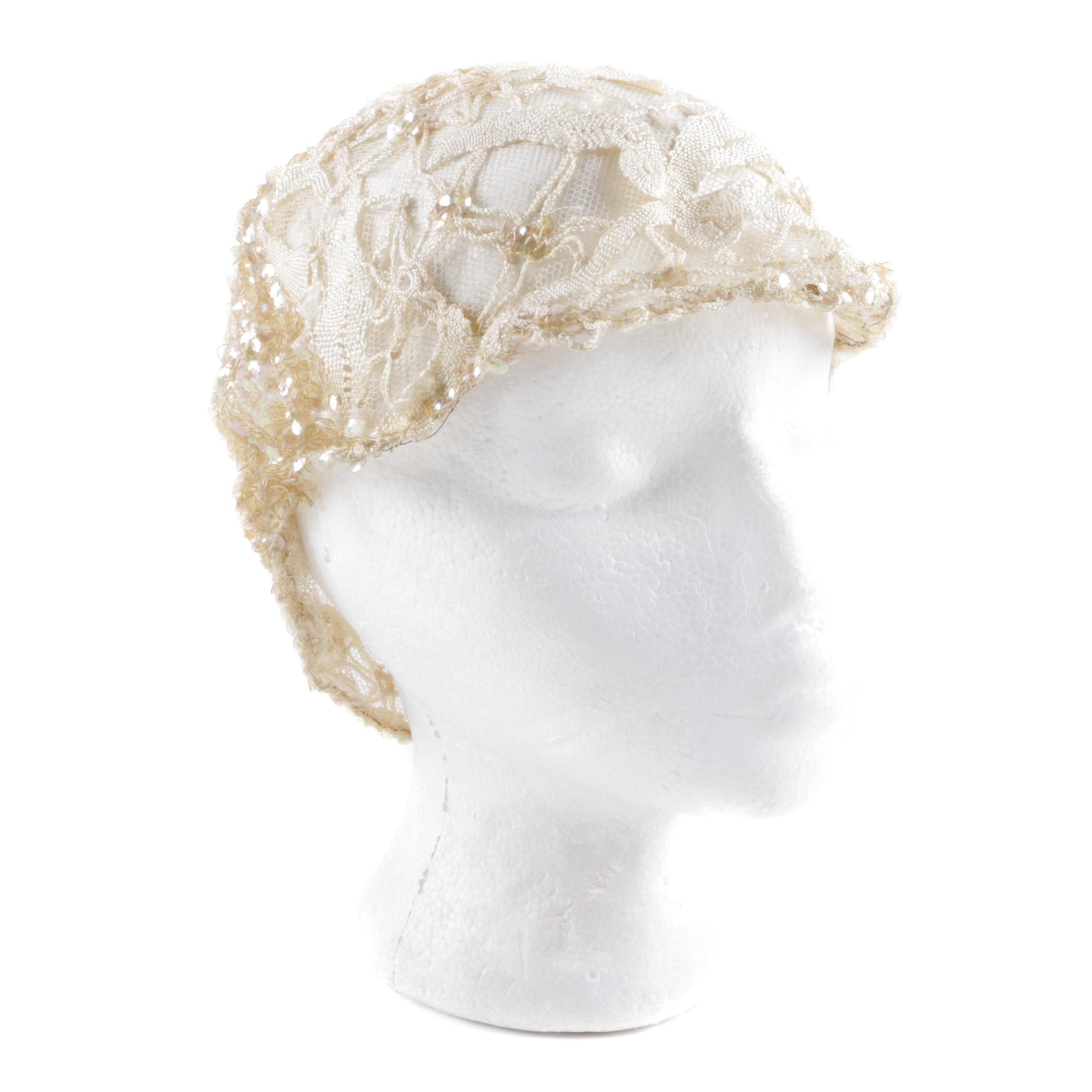 Vintage Mesh, Crochet Lace and Sequined Headcap