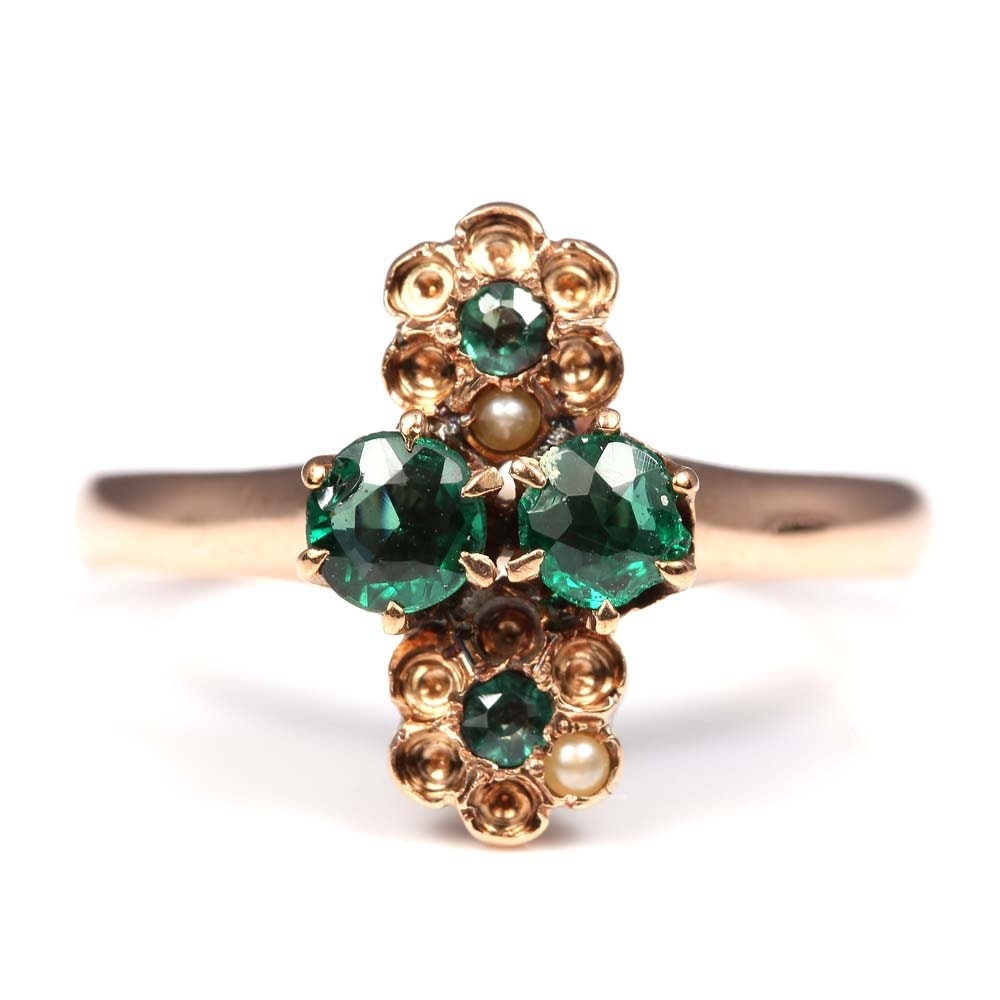 10K Yellow Gold Seed Pearl and Green Stone Ring