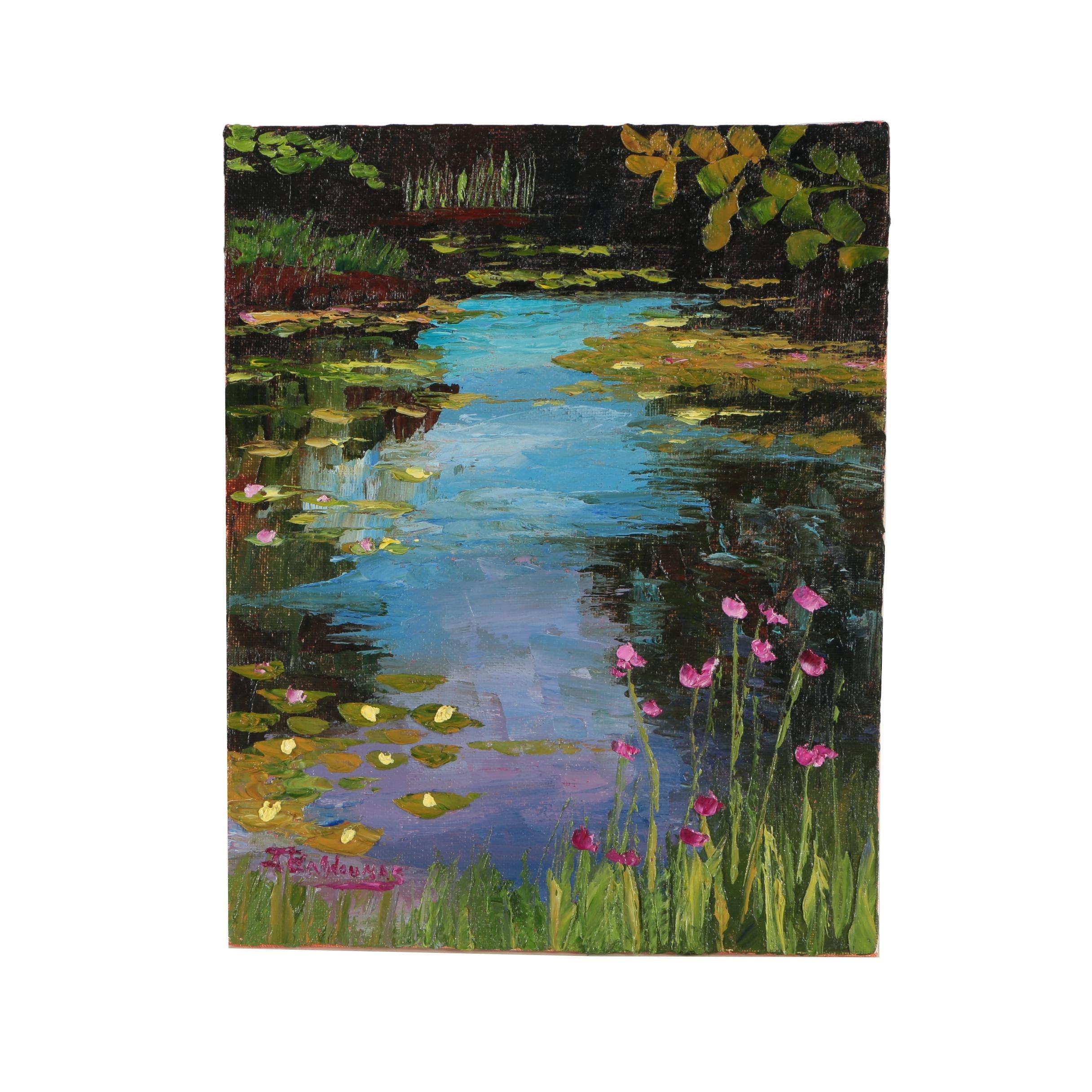 """James Baldoumas Oil Painting """"Lily Pond"""""""