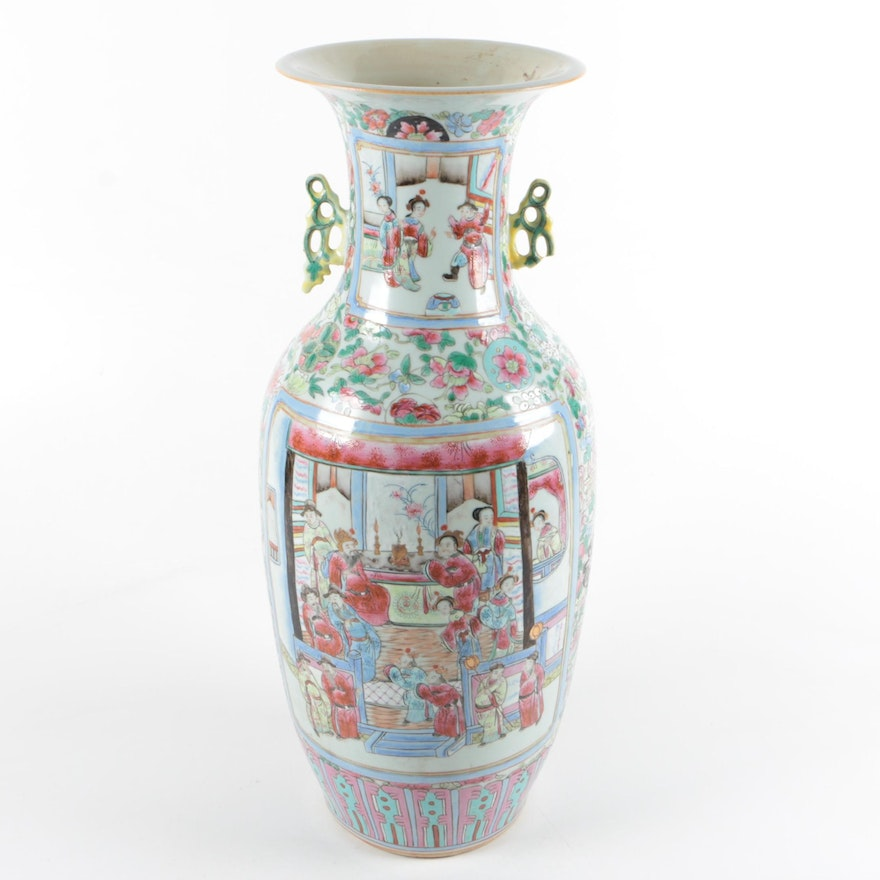 Chinese Hand Painted Ceramic Vase Ebth