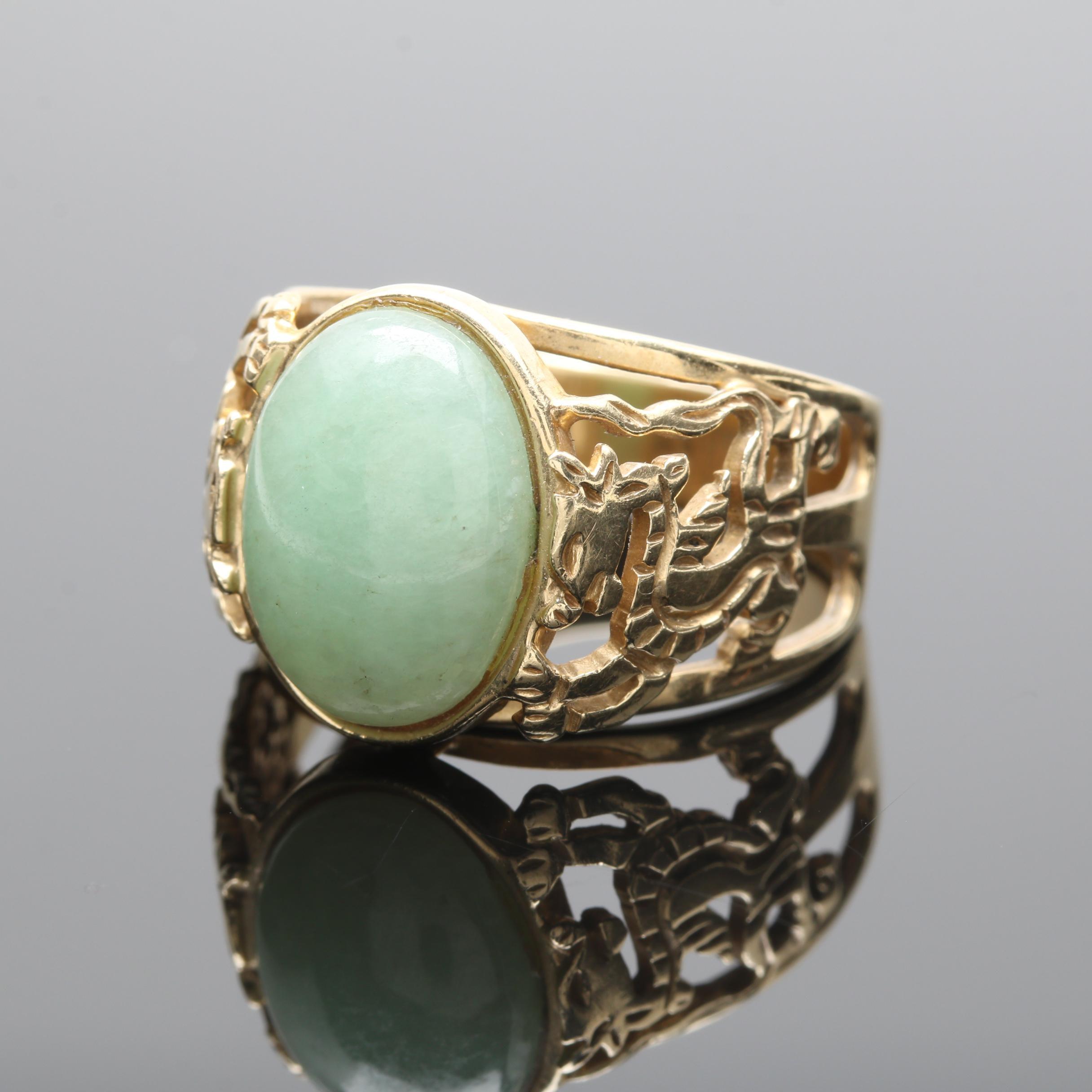 14K Yellow Gold Dyed Jadeite Dragon Ring