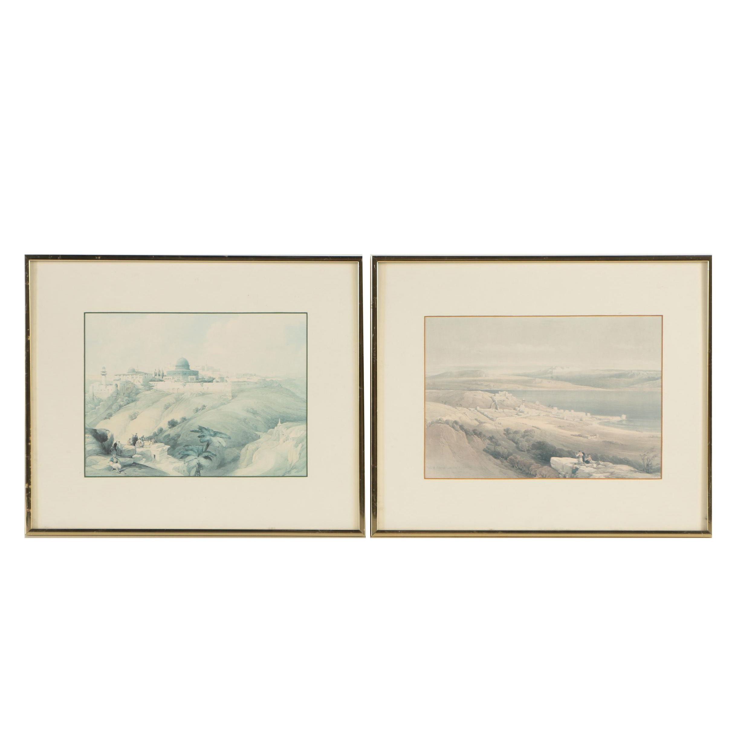 Offset Lithographic Prints After David Roberts of Biblical Scenes