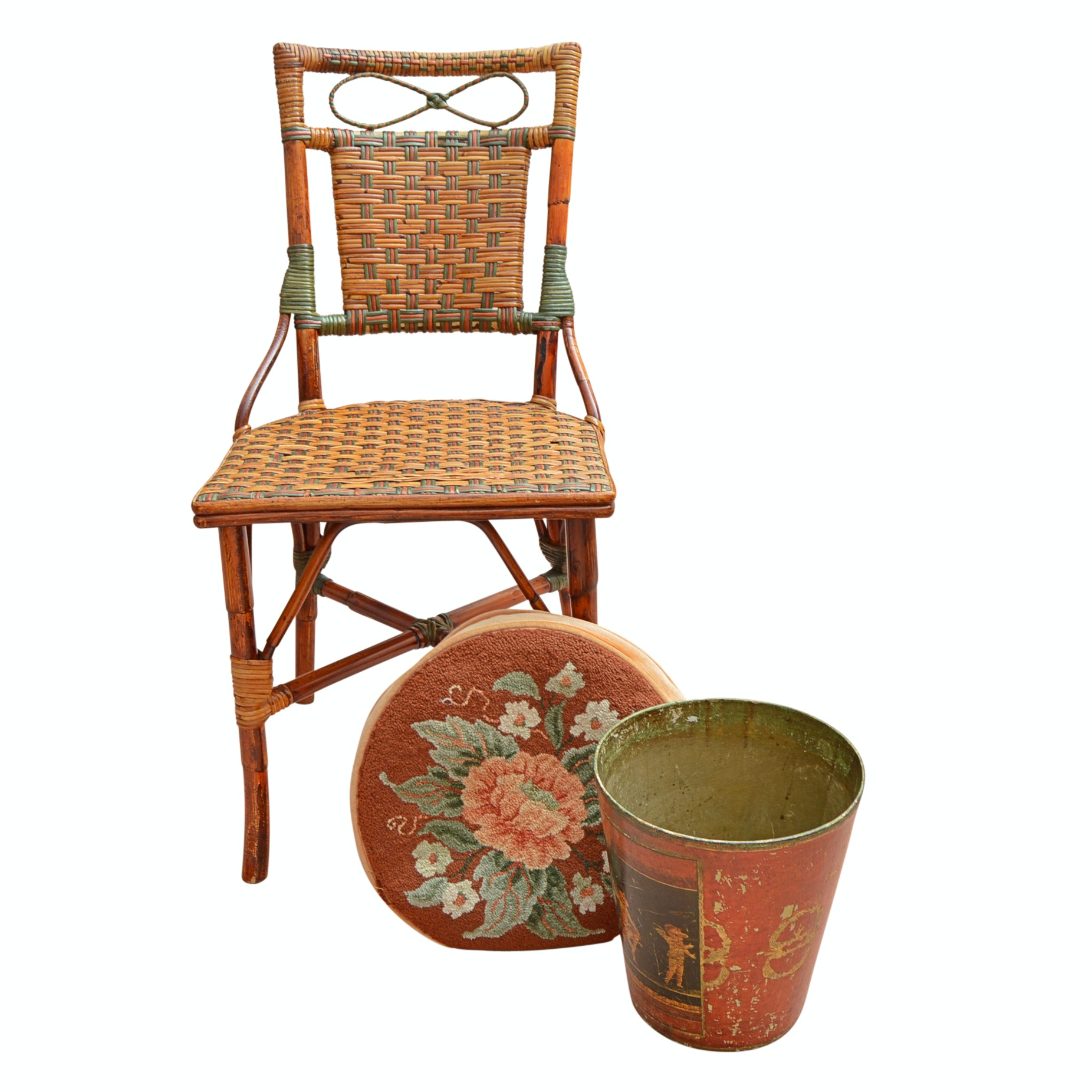 Woven Rattan Side Chair, Hand Hooked Pillow, Paper Mache Wastecan