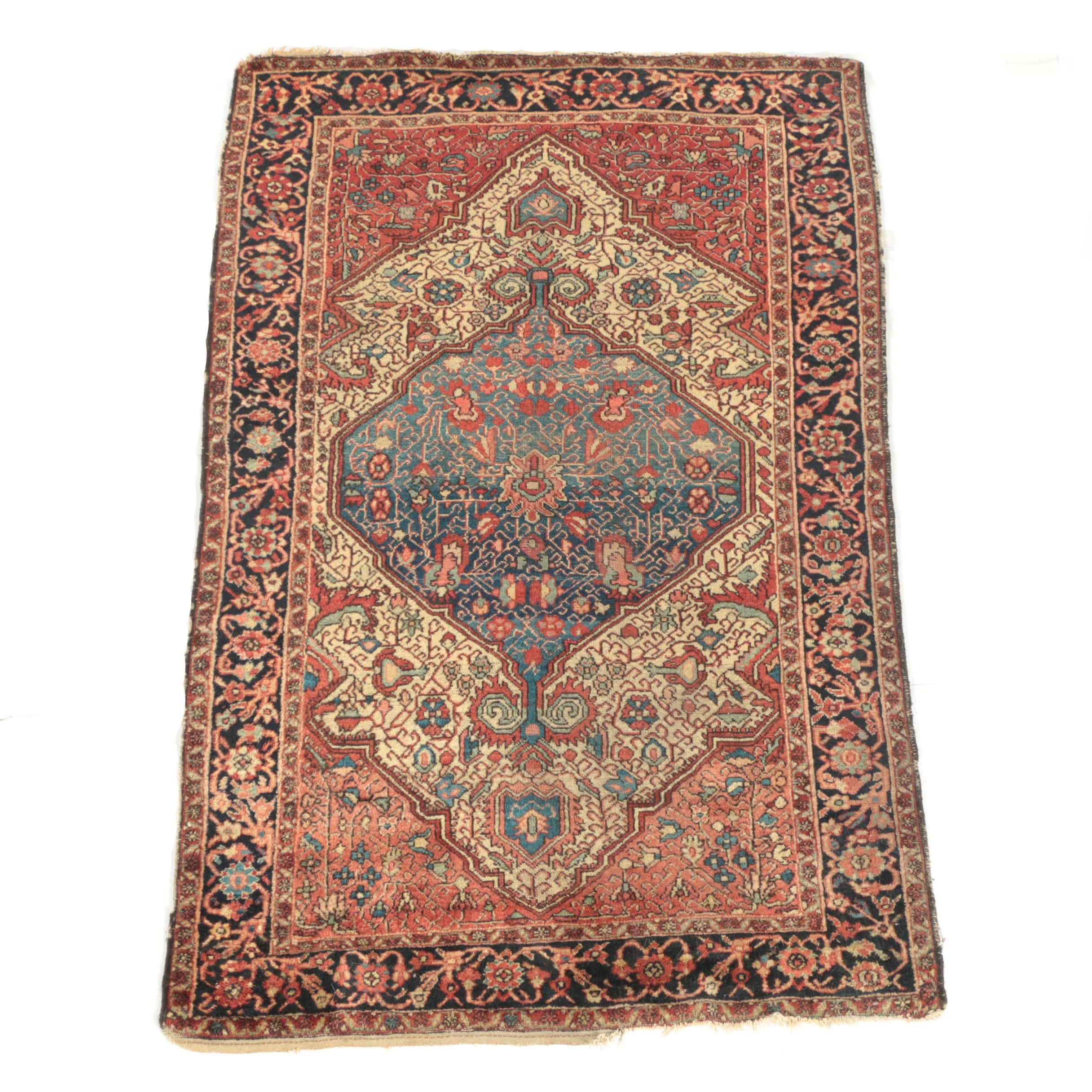 Antique Hand-Knotted Hamadan Touserkan Area Rug