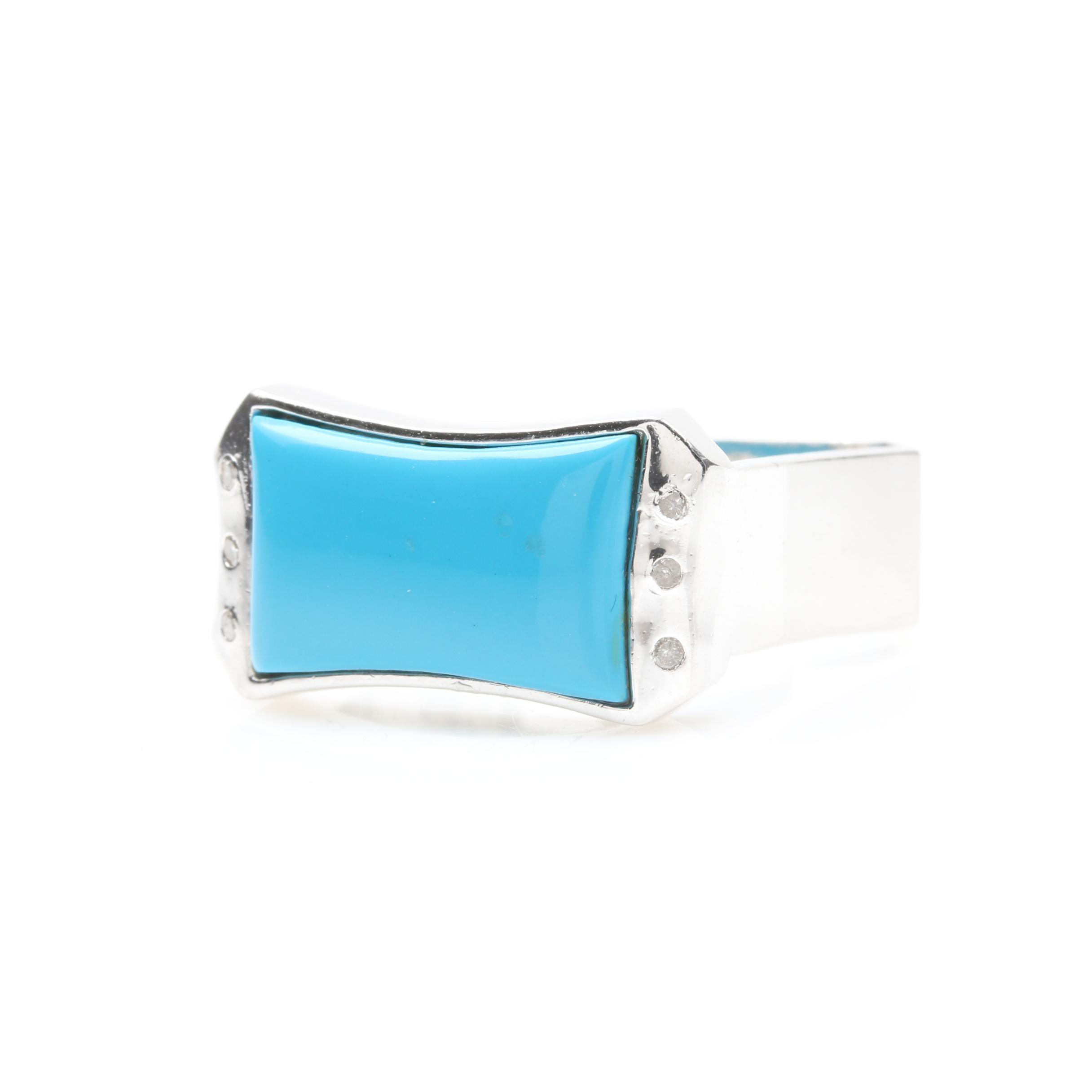 Bosovi Sterling Silver Imitation Turquoise and Diamond Ring