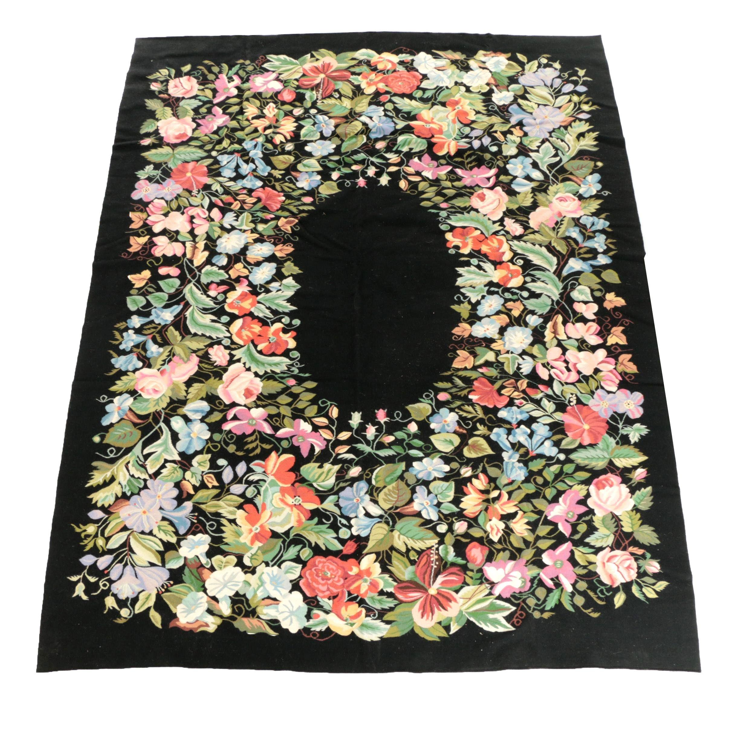 Vintage Handwoven Kilim Floral Wool Area Rug