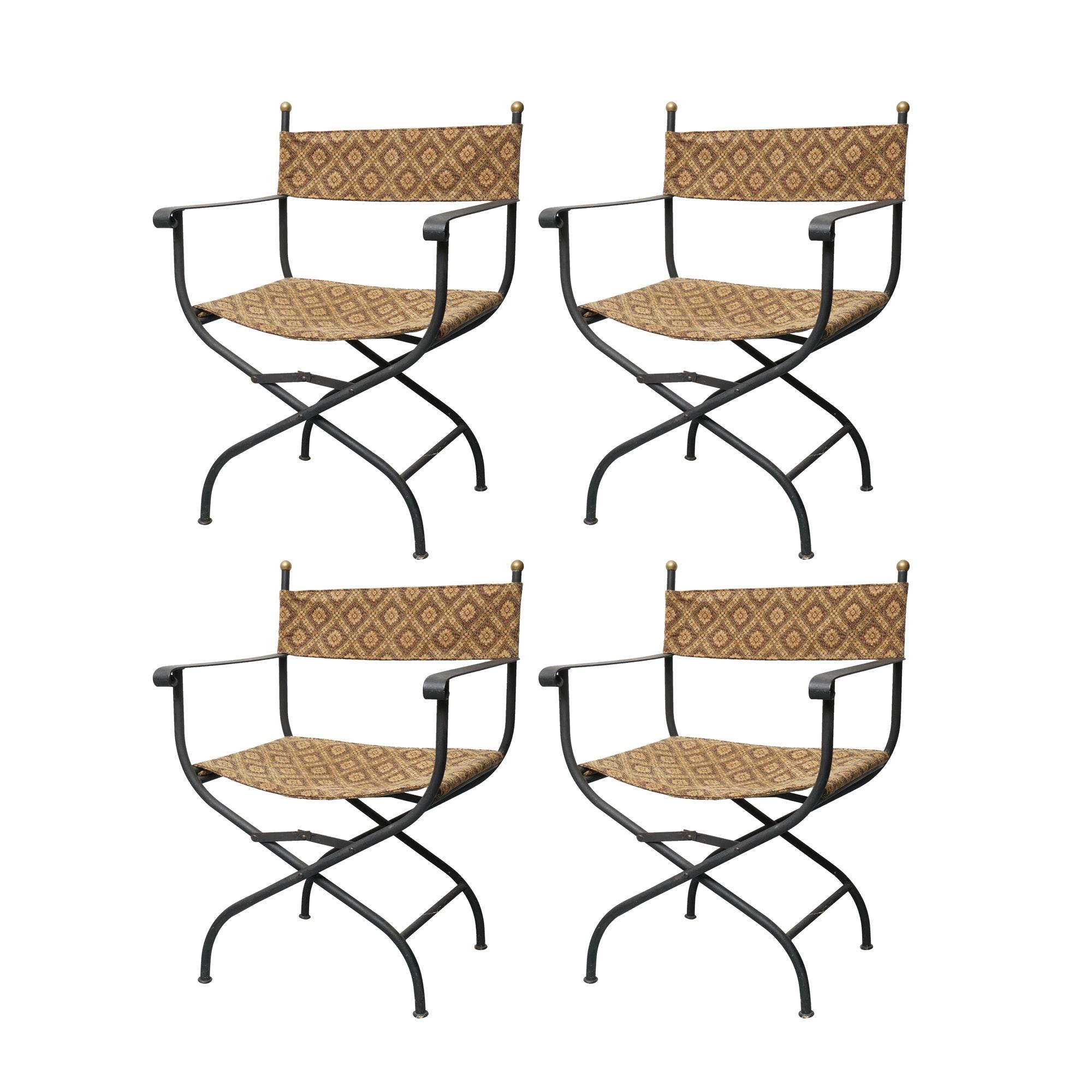 Set of Metal Savonarola Style Fold Up Chairs