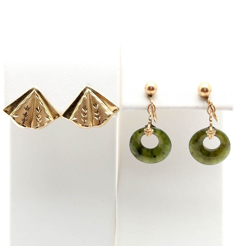 Selection of 14K Yellow Gold Earrings Including Nephrite