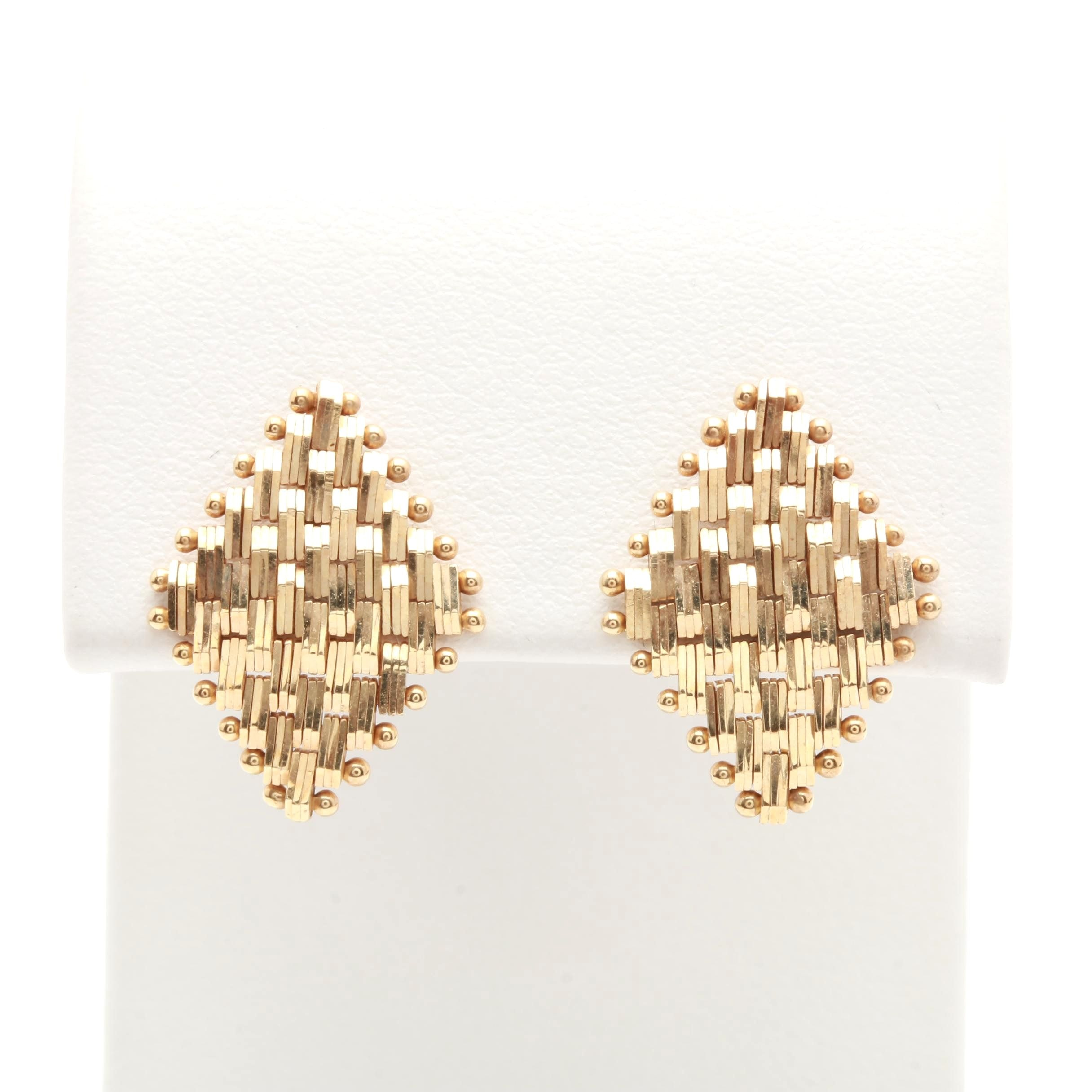 14K Yellow Gold Articulated Earrings
