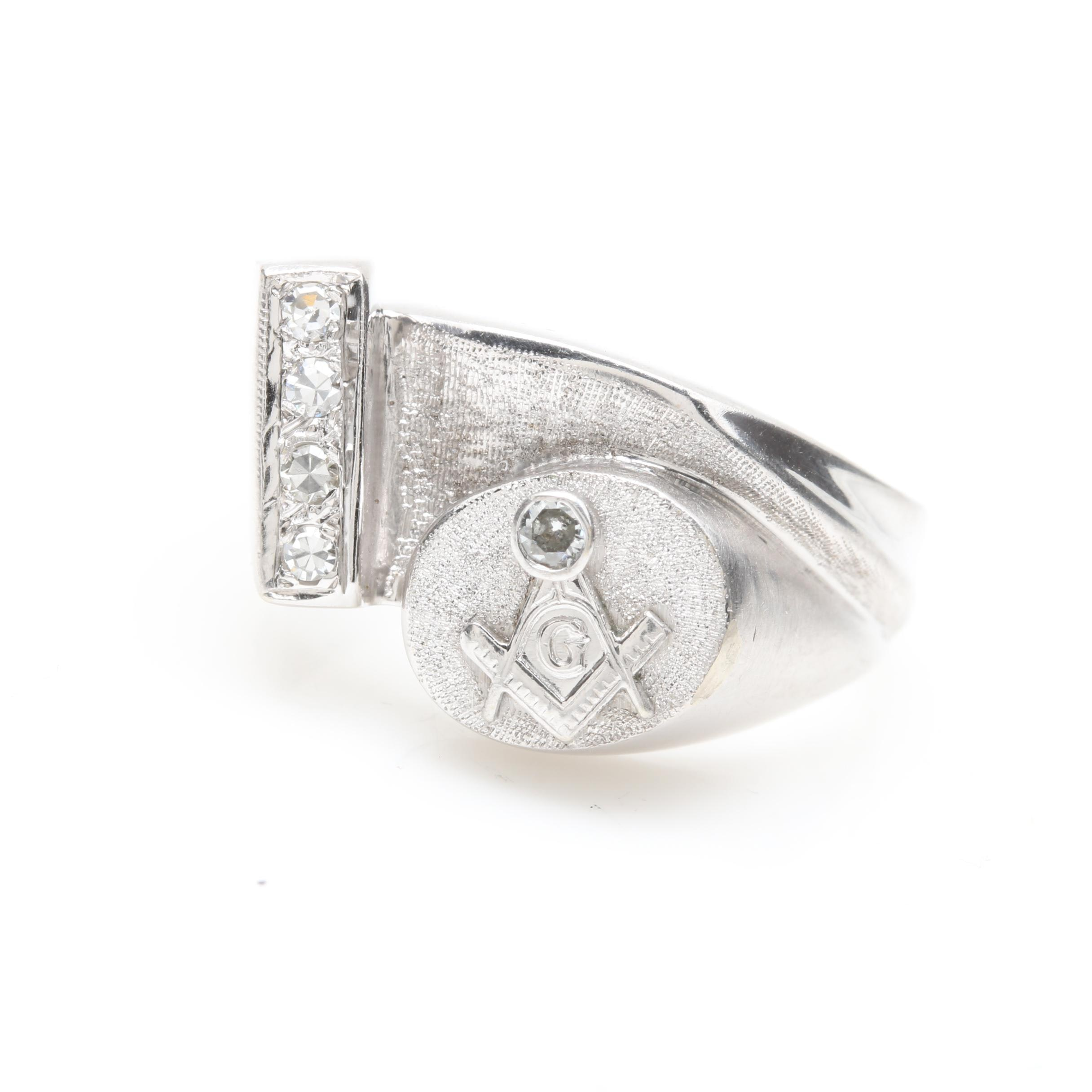 14K White Gold Diamond Masonic Ring