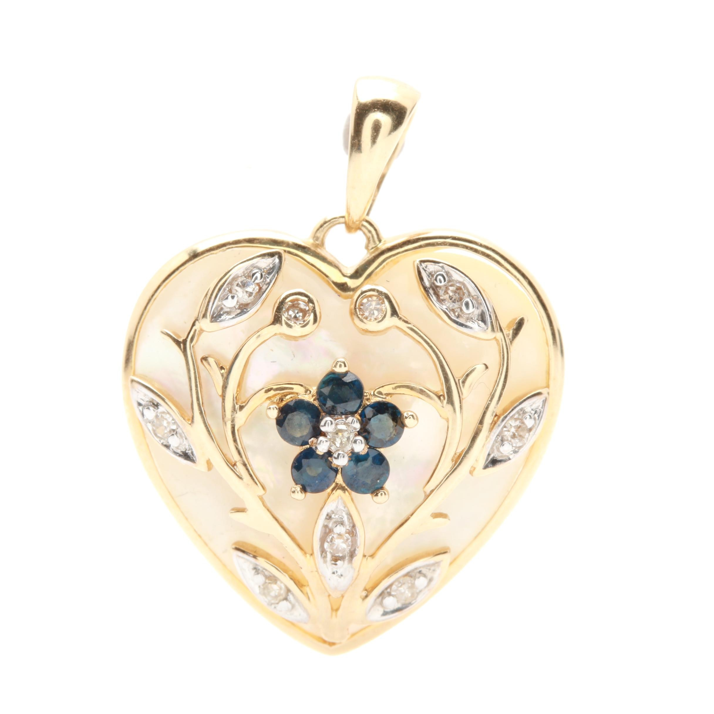 Alwand Vahan 10K Yellow Gold Mother of Pearl, Sapphire and Diamond Heart Pendant