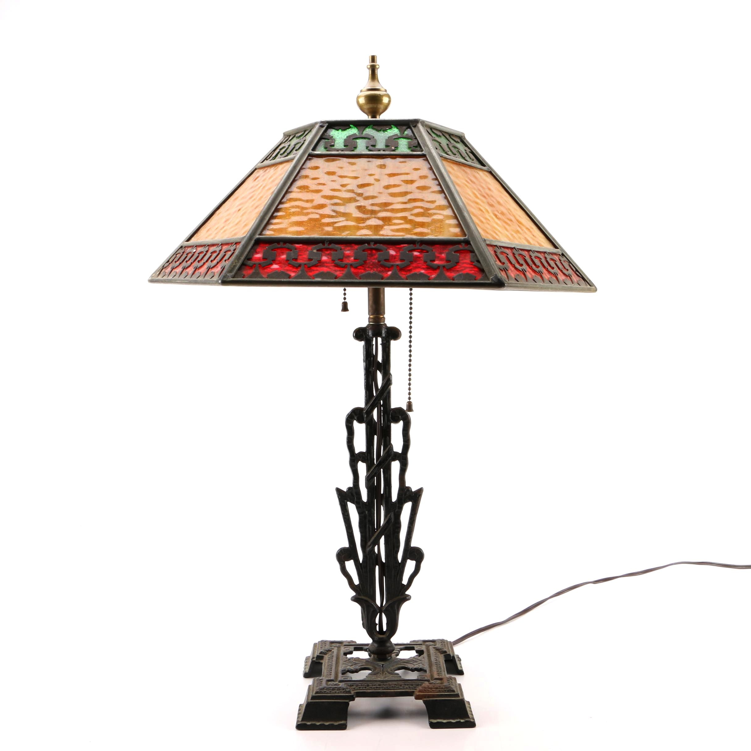 Vintage Unique Arts and Crafts Style Table Lamp