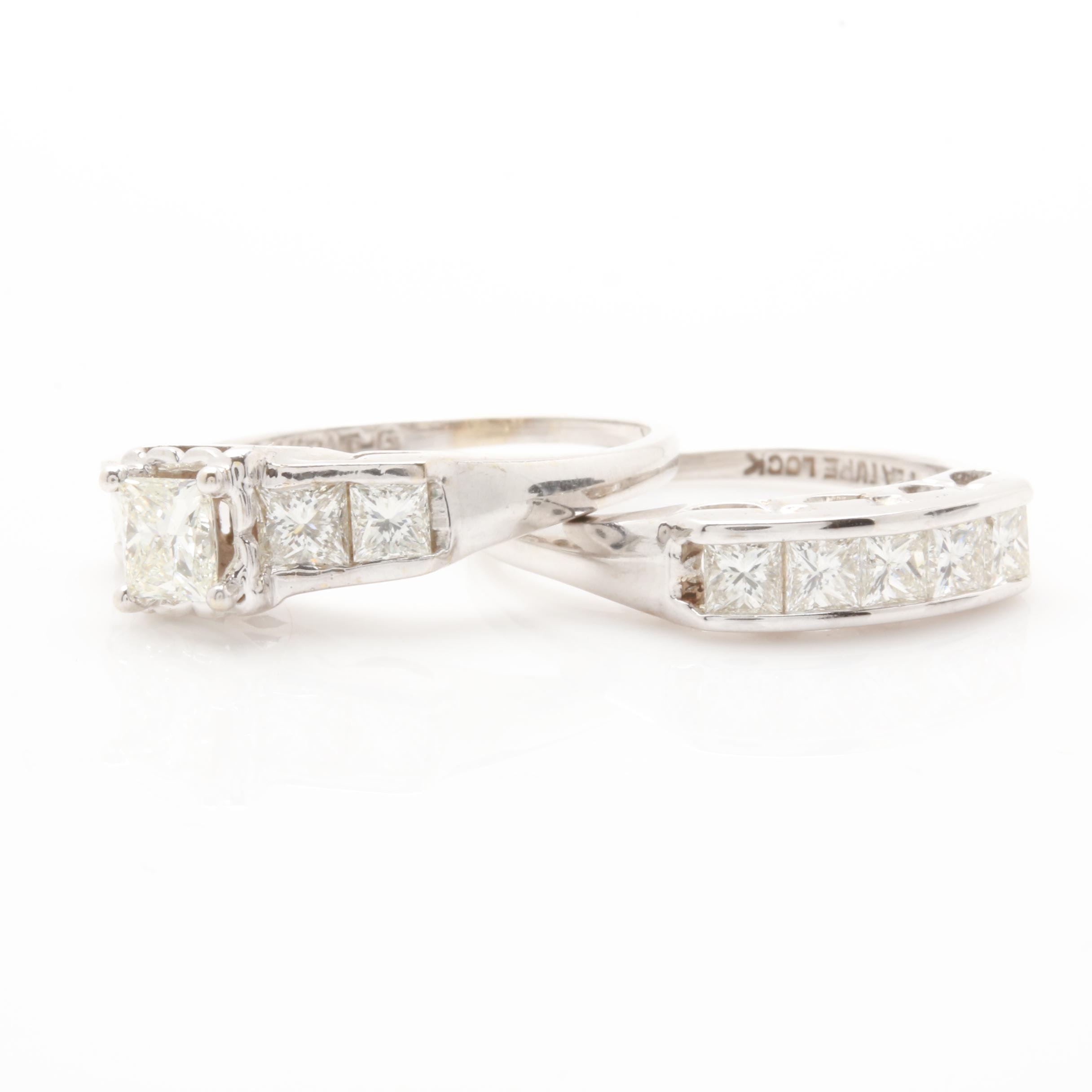 14K White Gold 2.34 CTW Diamond Ring Set