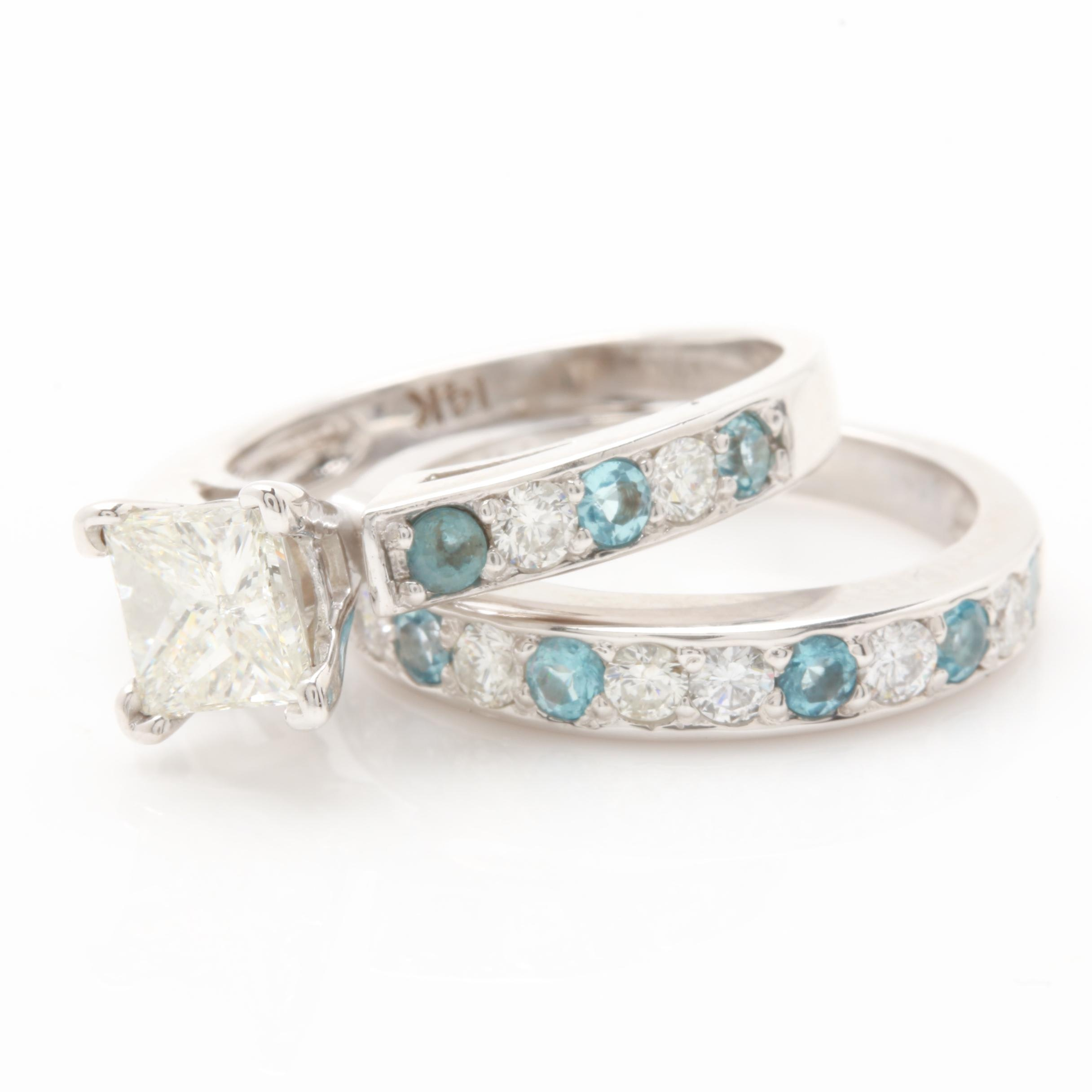 14K White Gold 1.48 CTW Diamond and Blue Spinel Ring Set