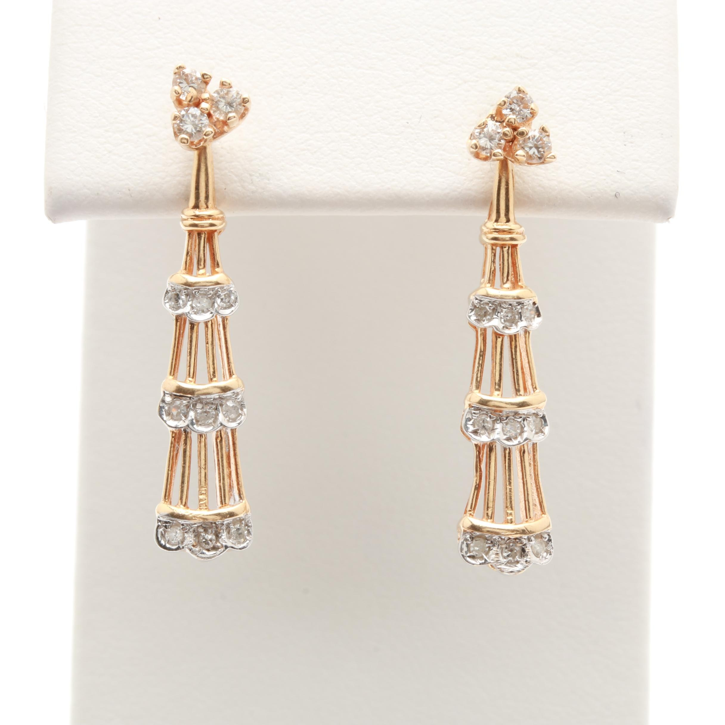 14K Yellow Gold Diamond Stud Earrings With Diamond Jackets