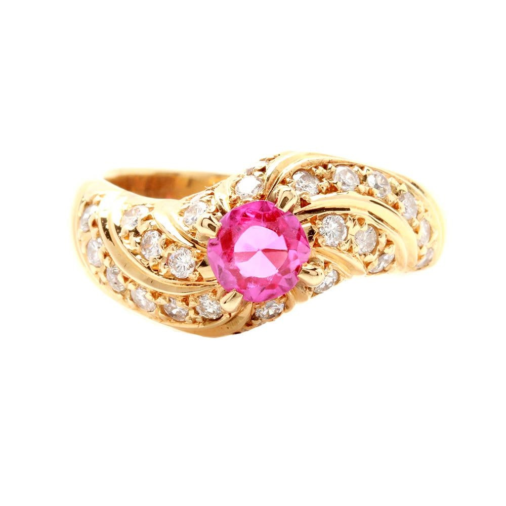 18K Yellow Gold Synthetic Ruby and Diamond Ring