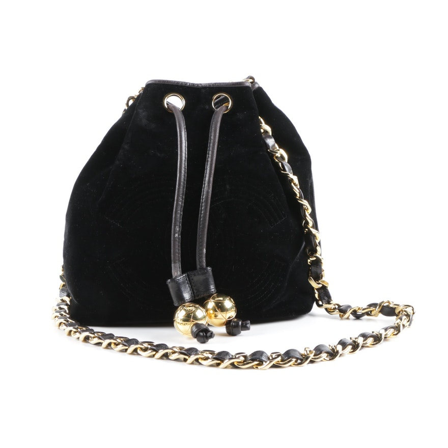 Circa 1990s Chanel CC Black Velvet and Leather Bucket Bag   EBTH 7ce9cac149243