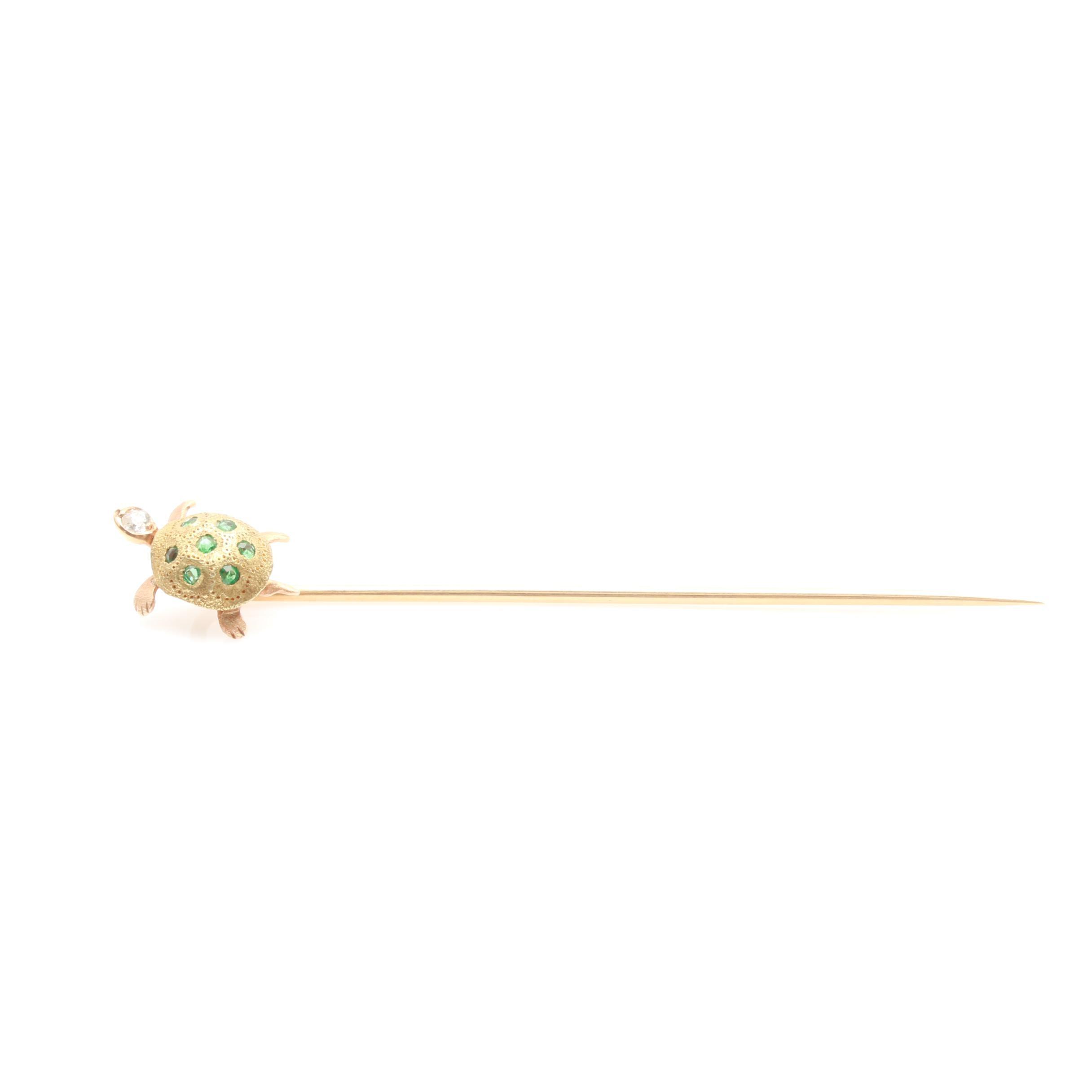 14K Yellow Gold Emerald and Diamond Turtle Stick Pin