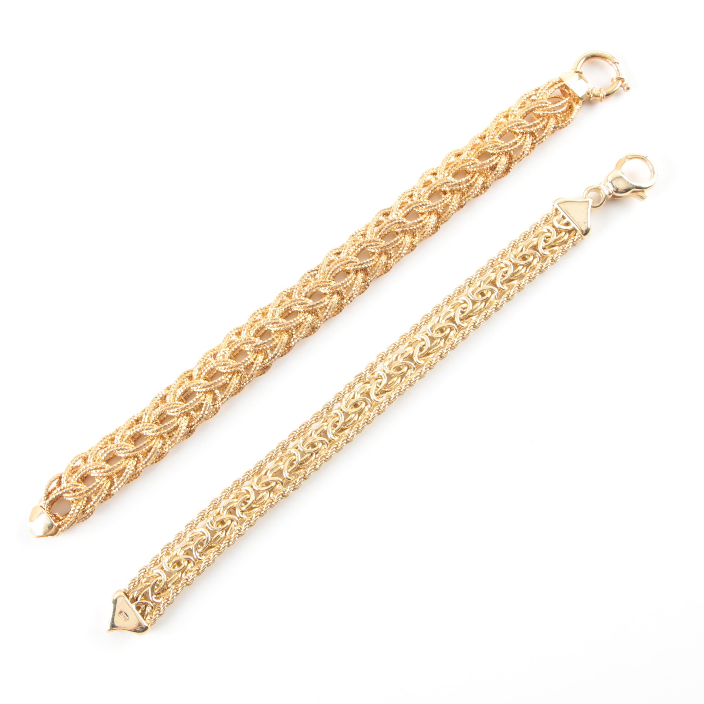 Gold Wash on Sterling Silver Fancy Link Bracelet Selection
