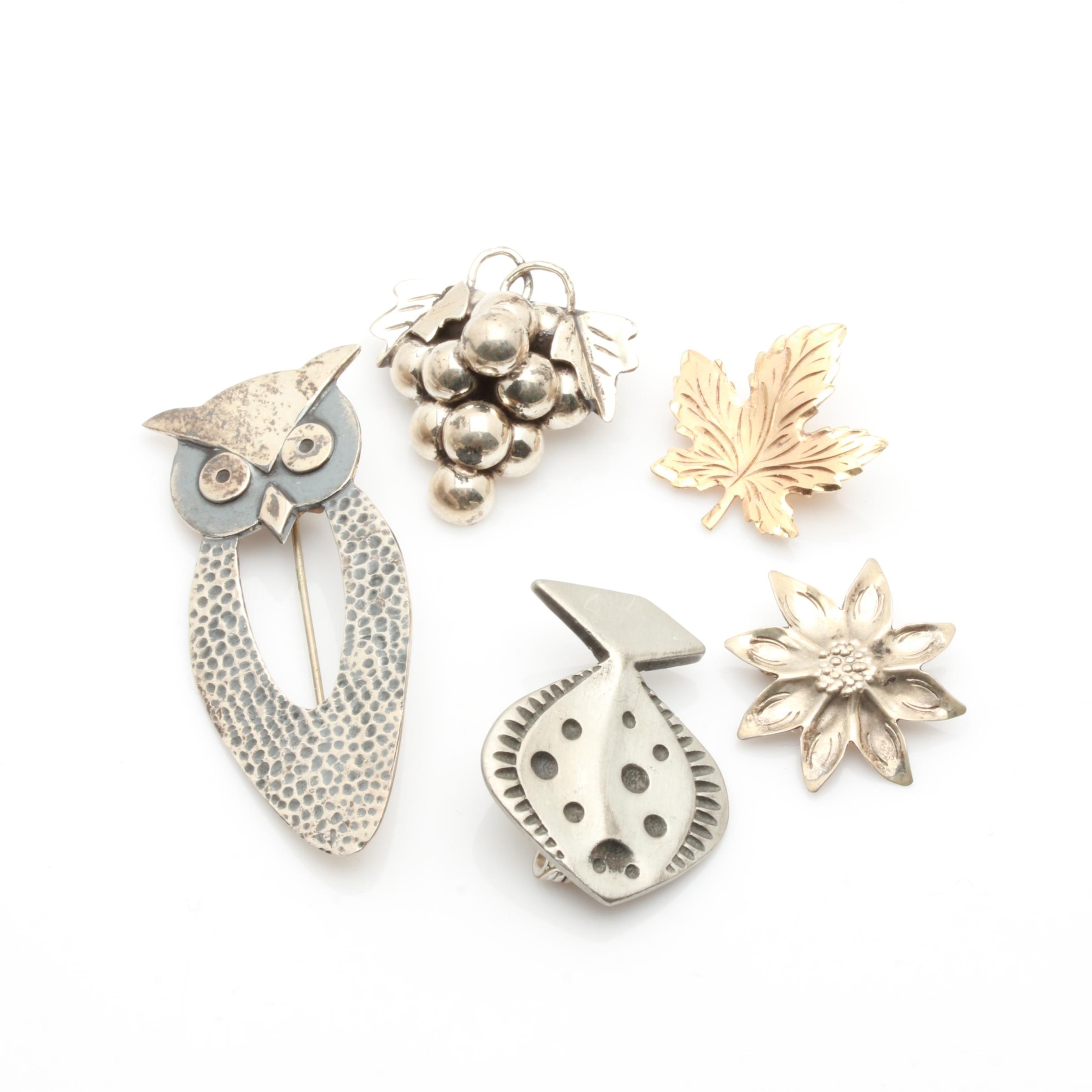 Brooches Including Sterling Silver and Vintage Tennesmed Pewter