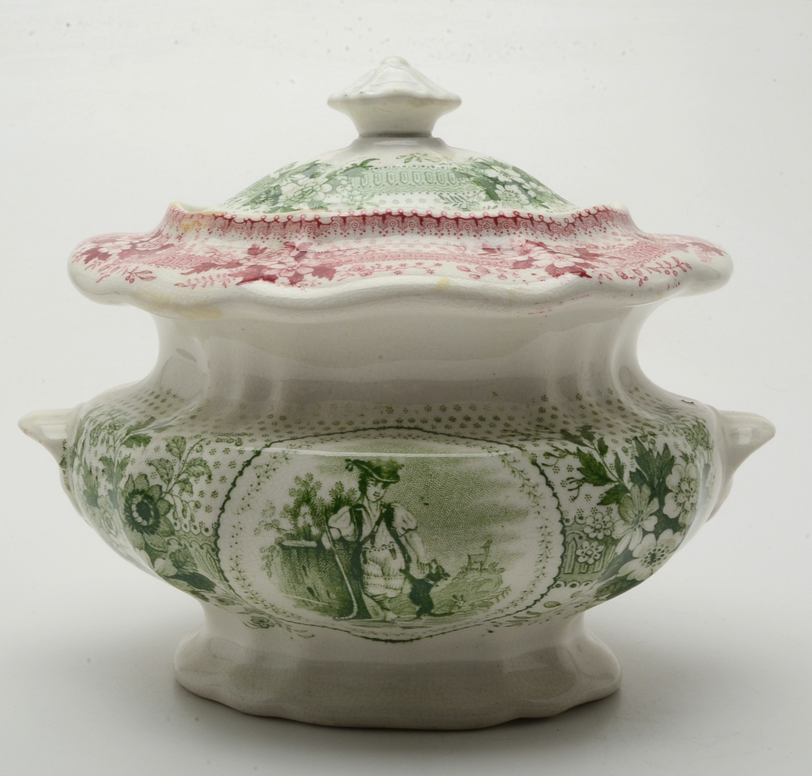 Antique Stafforshire Bi-Color Transferware Sugar Bowl with Lid