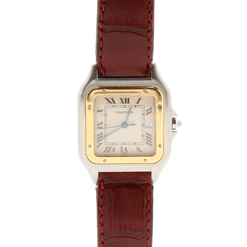 """Cartier Stainless Steel with 14K Yellow Gold """"Santos"""" Wristwatch"""