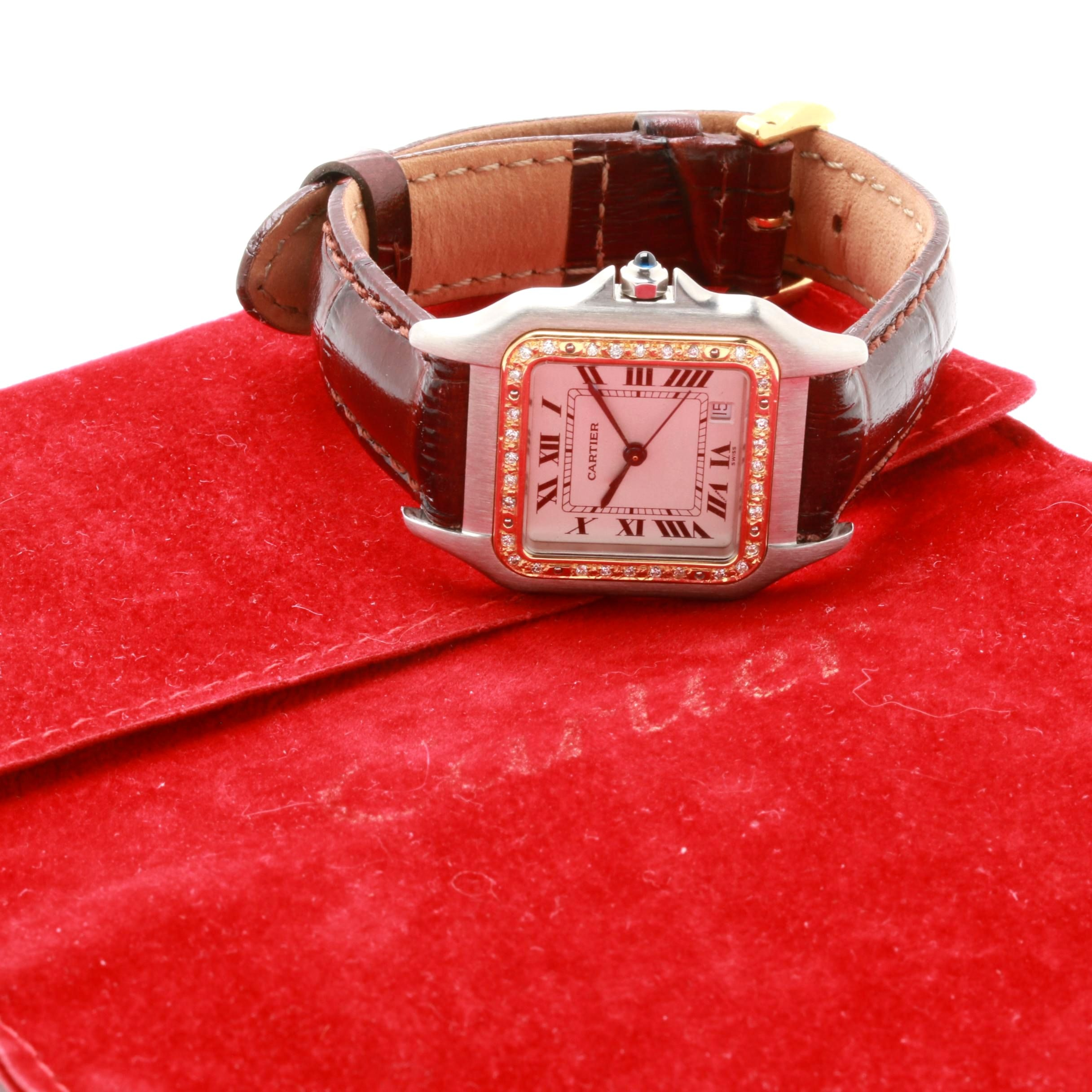 Cartier Stainless Steel and 18K Yellow Gold Diamond Wristwatch