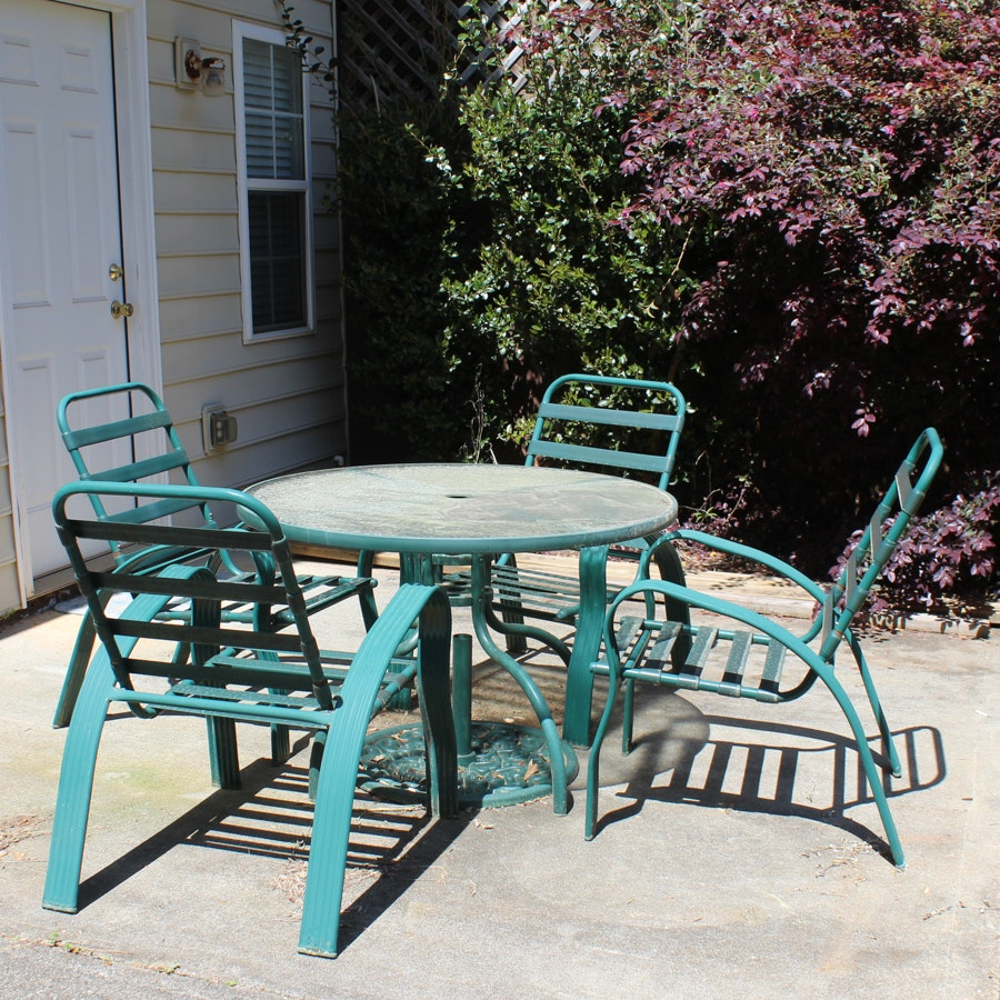 Outdoor Glass Top Table with Chairs