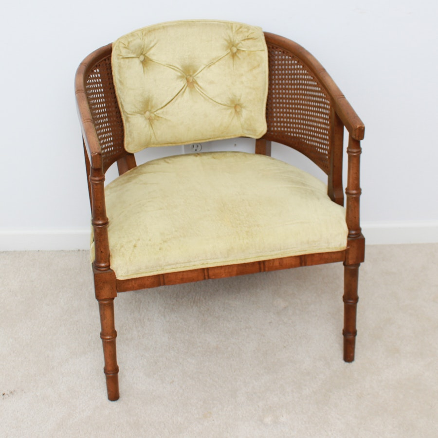 Vintage Bamboo and Cane Barrel Back Chair