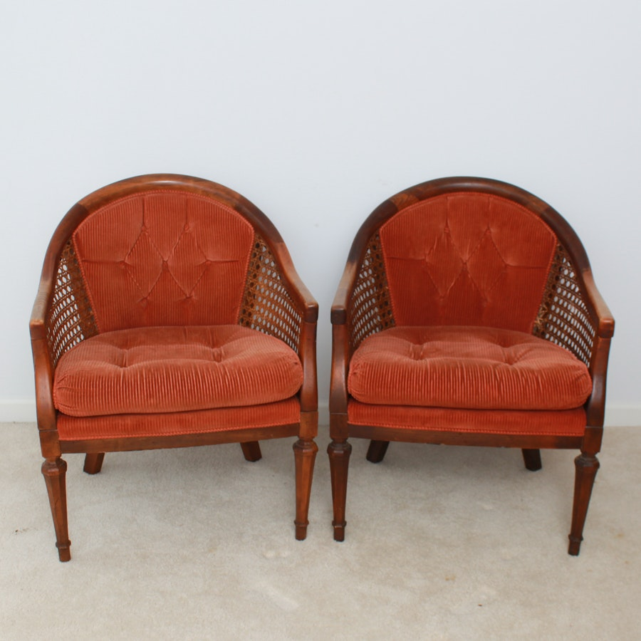 Pair of Mid-20th Century Walnut and Cane Tub Chairs