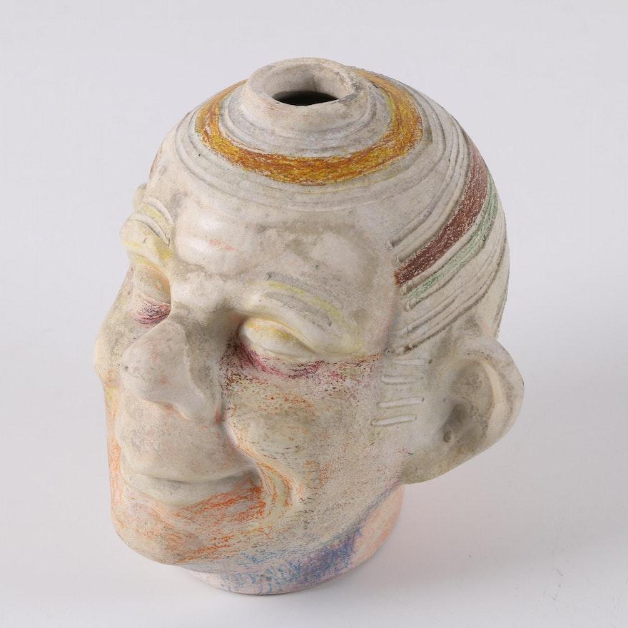 Vintage Slip Cast Stoneware Head Jug