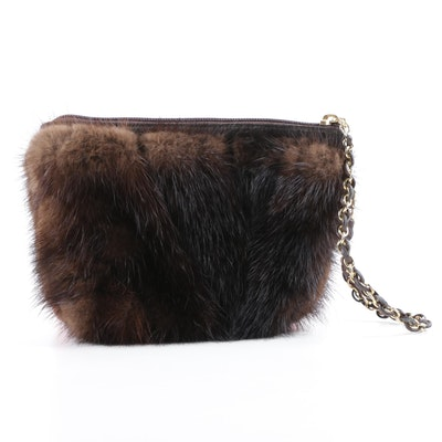 52b3d0ccfc93 Paola by PdL Firenze Dark Brown Mink Fur Wristlet