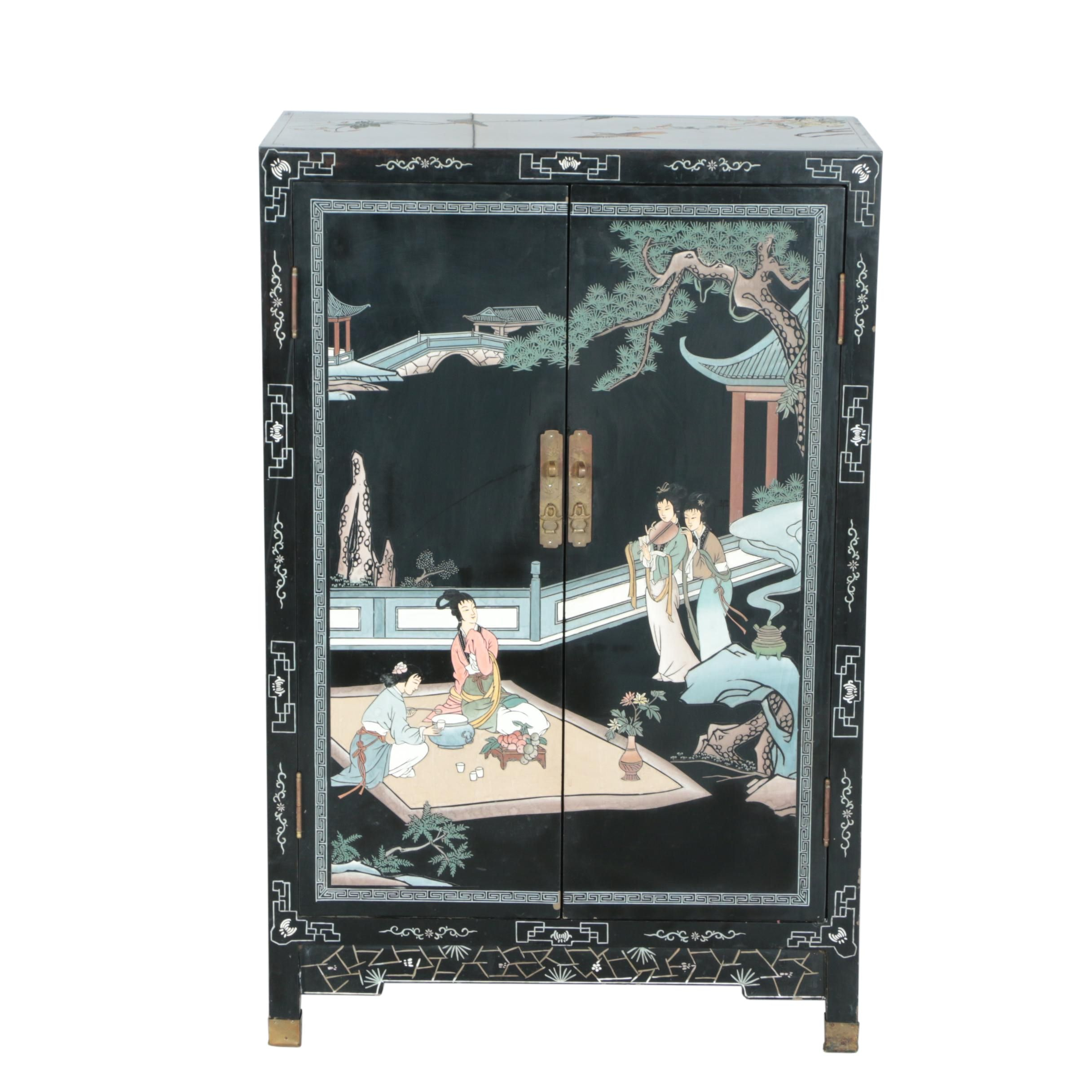 Vintage Chinese Coromandel Lacquered Cabinet