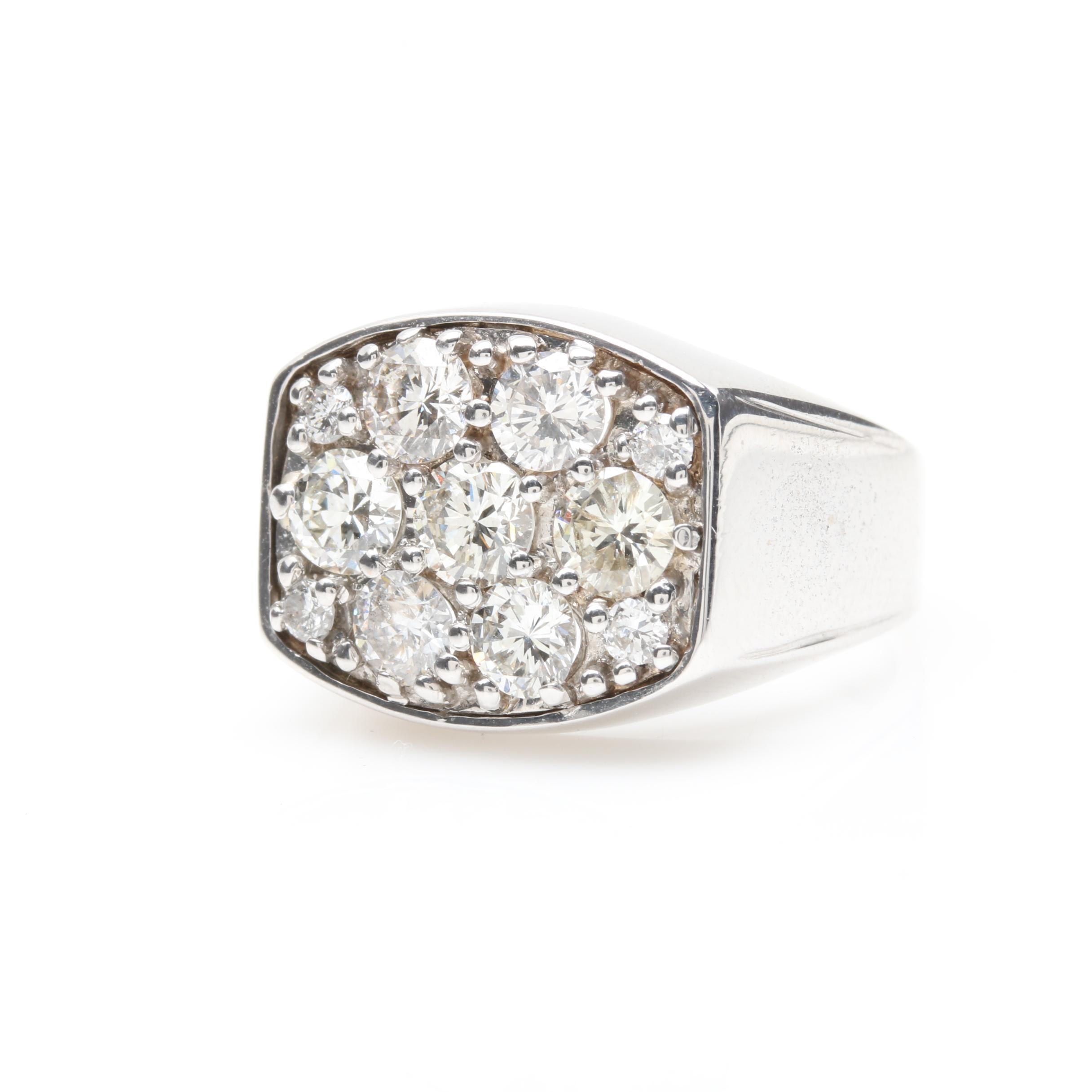 14K White Gold 1.70 CTW Diamond Cluster Ring