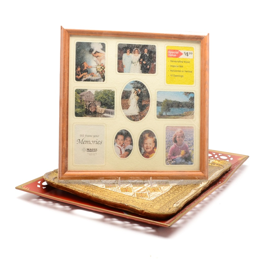 Collection Of Decor Including Two Serving Trays And A Picture Frame