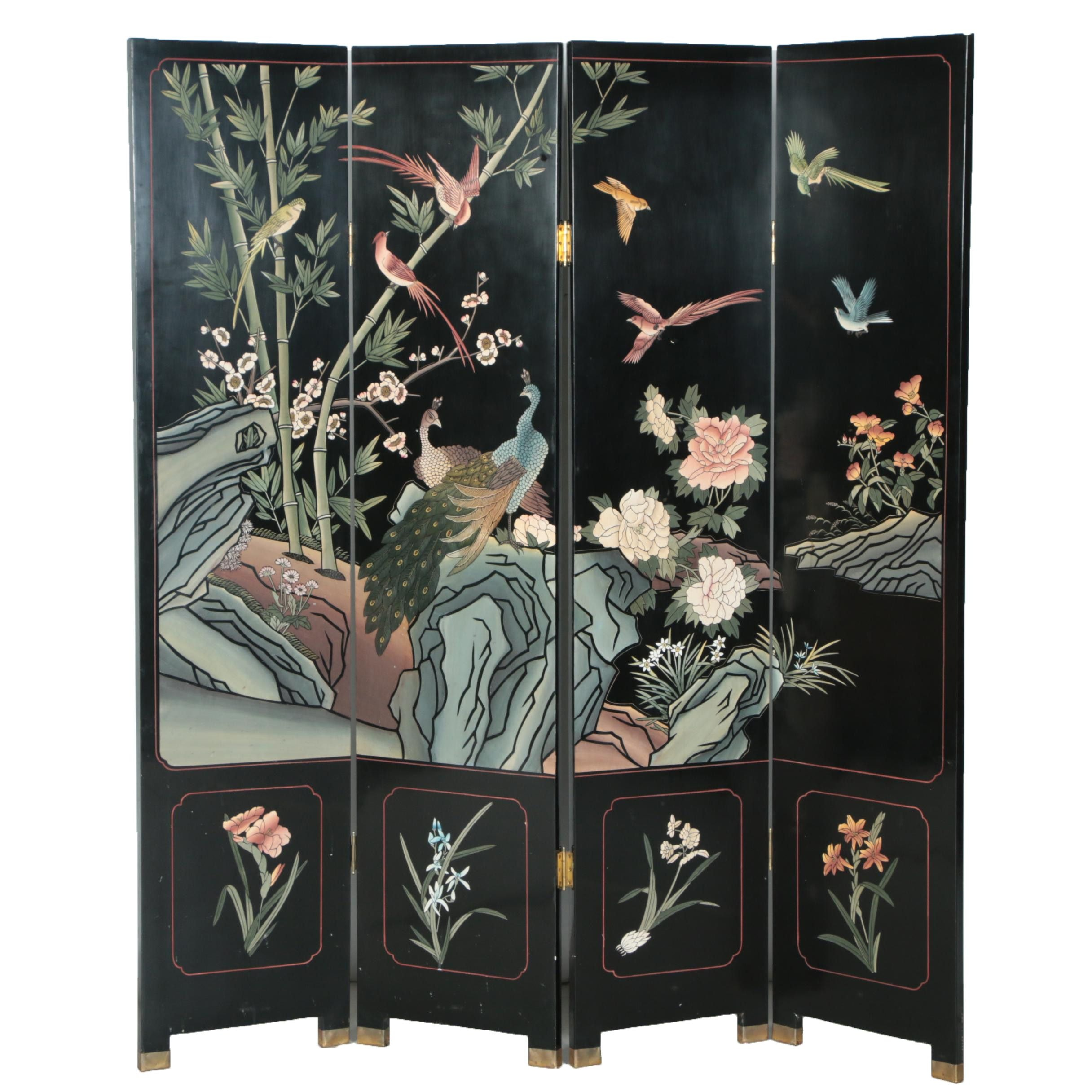 Vintage Chinese Coromandel Lacquer Wooden Screen