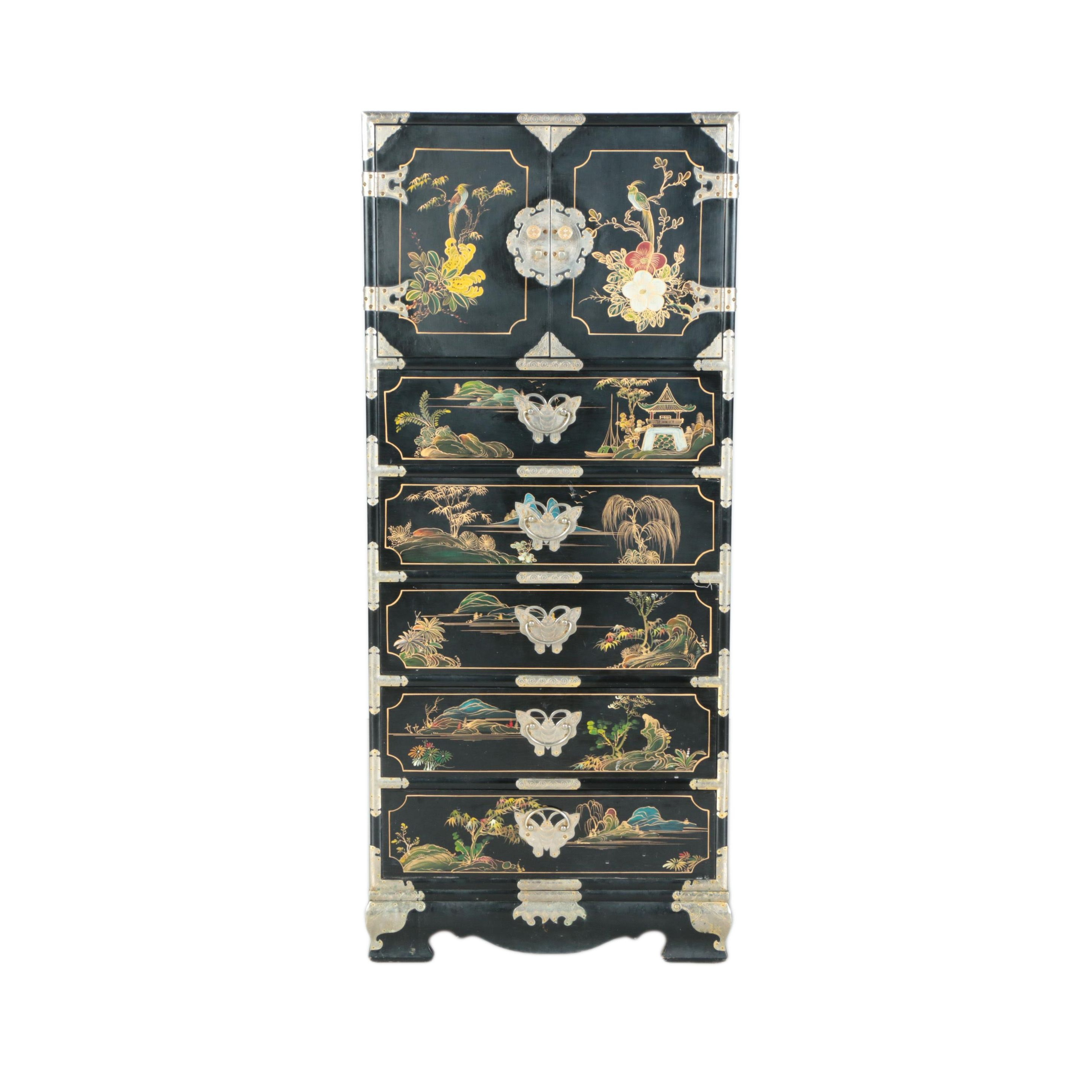 Vintage Chinese Black-Lacquered and Hand-Painted Chest of Drawers