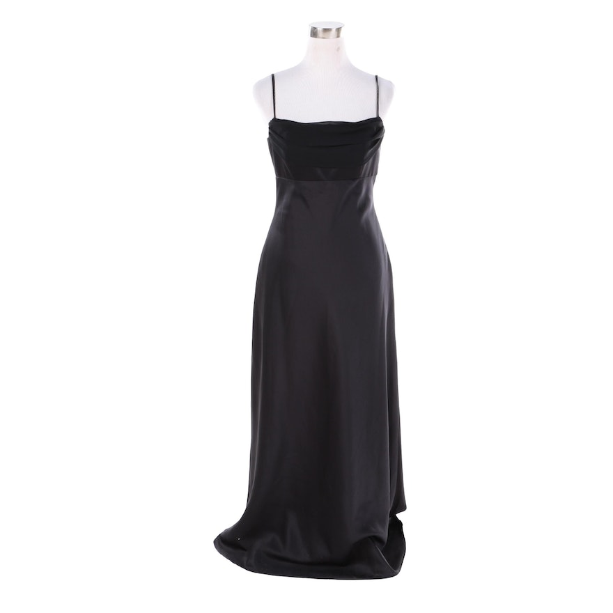 Alfred Angelo Black Sleeveless Evening Gown with Sash : EBTH