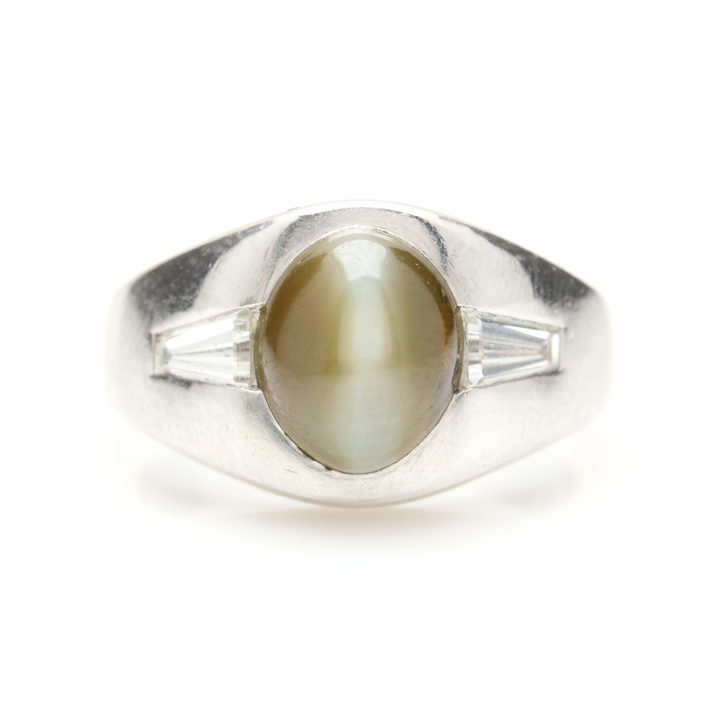 Platinum Cat's Eye Chrysoberyl and Diamond Ring