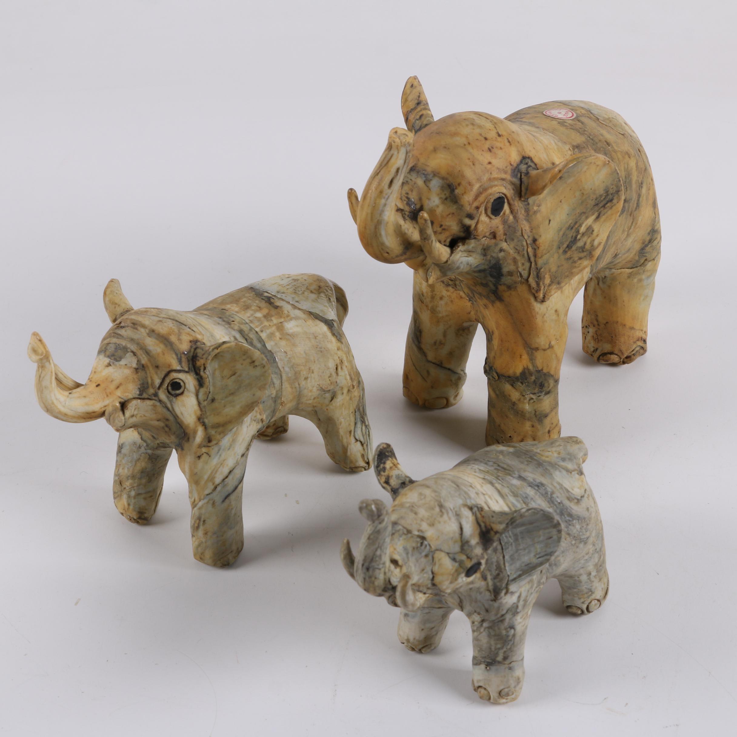 Three Oyster Shell Elephant Figurines