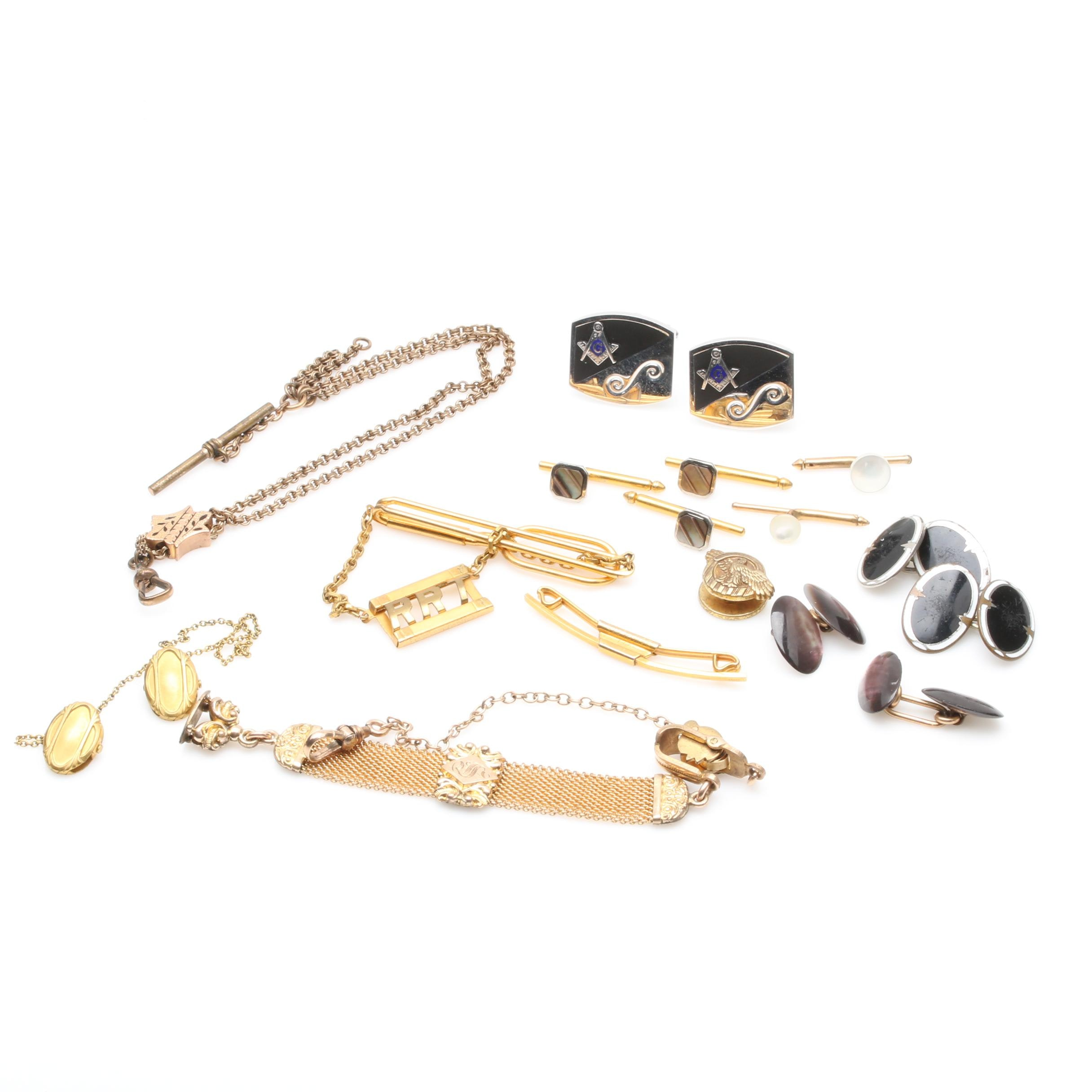 Assorted Gold and Silver Tone Jewelry Featuring Mother of Pearl Cufflinks