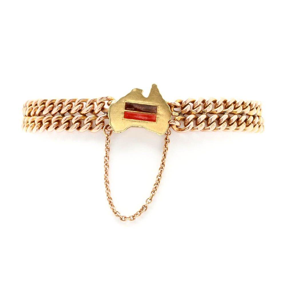 Vintage 9K Yellow Gold Enamel Australia Chain Bracelet
