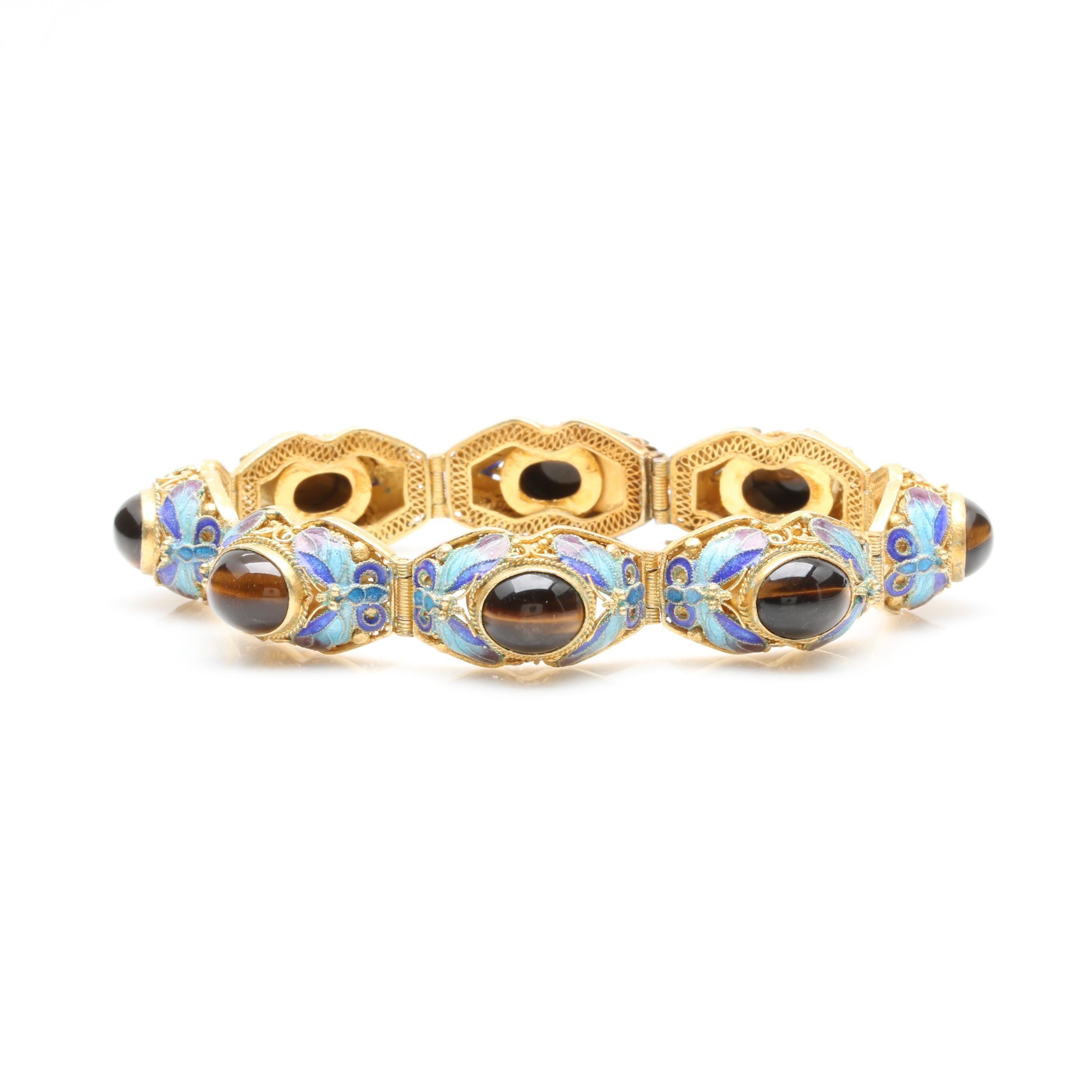 Vintage Chinese Gold Wash on Sterling Silver Tiger's Eye Enameled Bracelet