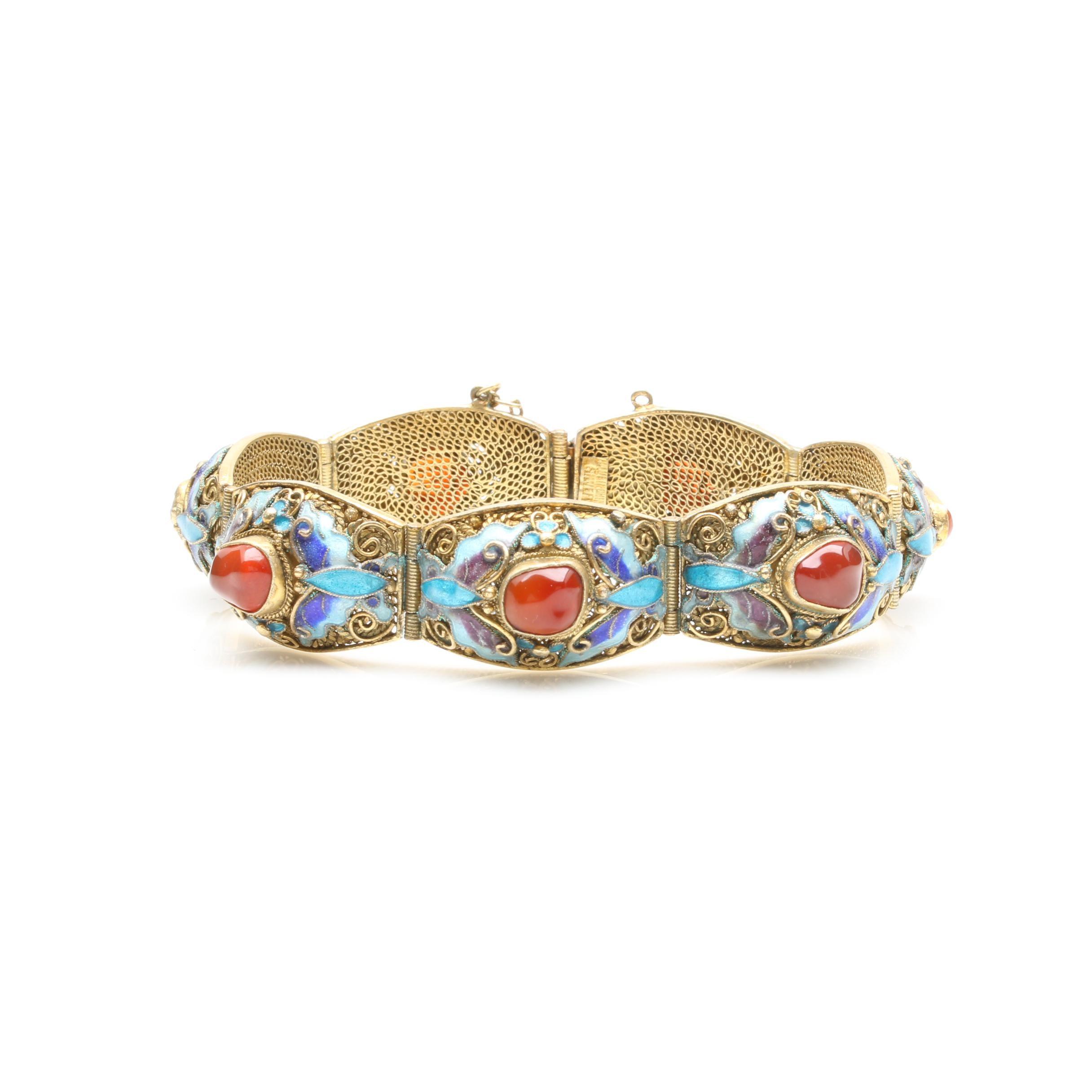 Vintage Chinese Gold Wash on Sterling Silver Carnelian and Enamel Bracelet