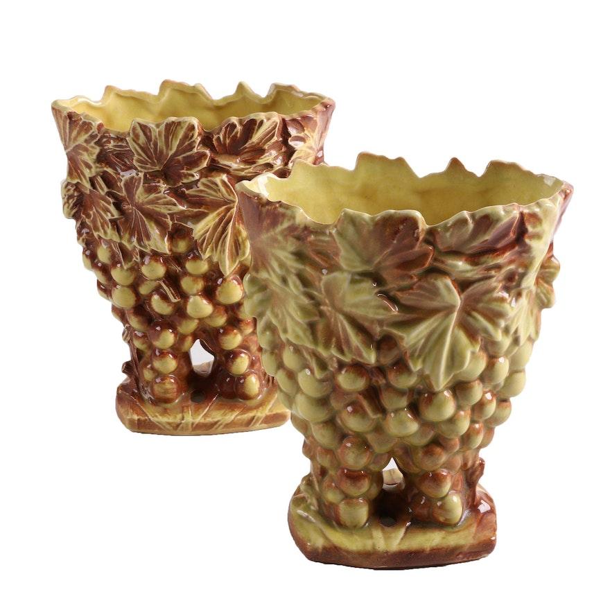 Vintage Mccoy Ceramic Grape Cluster Vases Ebth