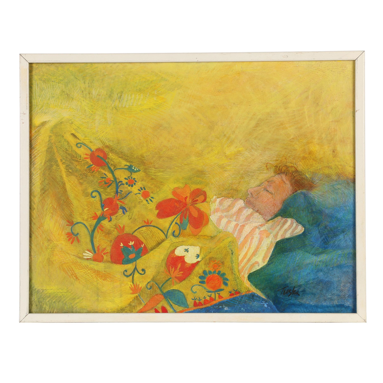 John Tuska Gouache Painting