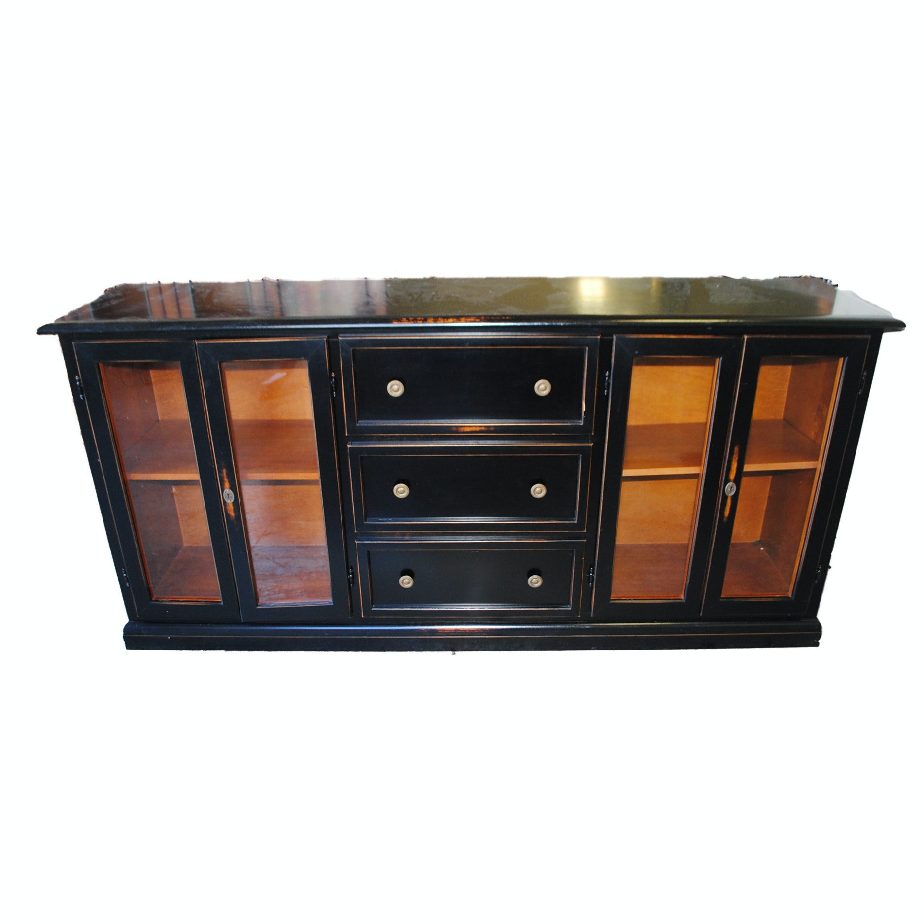 Vintage Georgian Style Black Lacquered Buffet