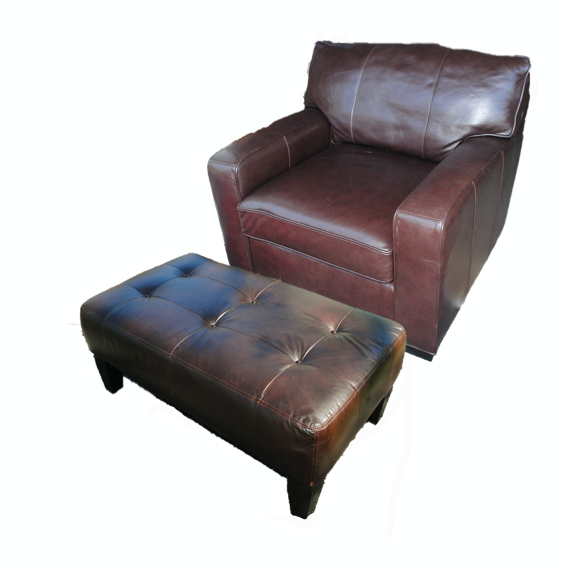 Brown Leather Armchair With Ottoman By Arhaus Furniture