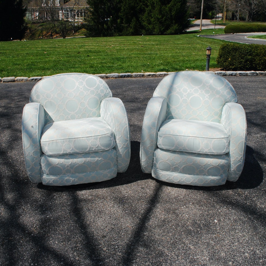 Pleasing Vintage Pale Blue Upholstered Swivel Club Chairs Squirreltailoven Fun Painted Chair Ideas Images Squirreltailovenorg